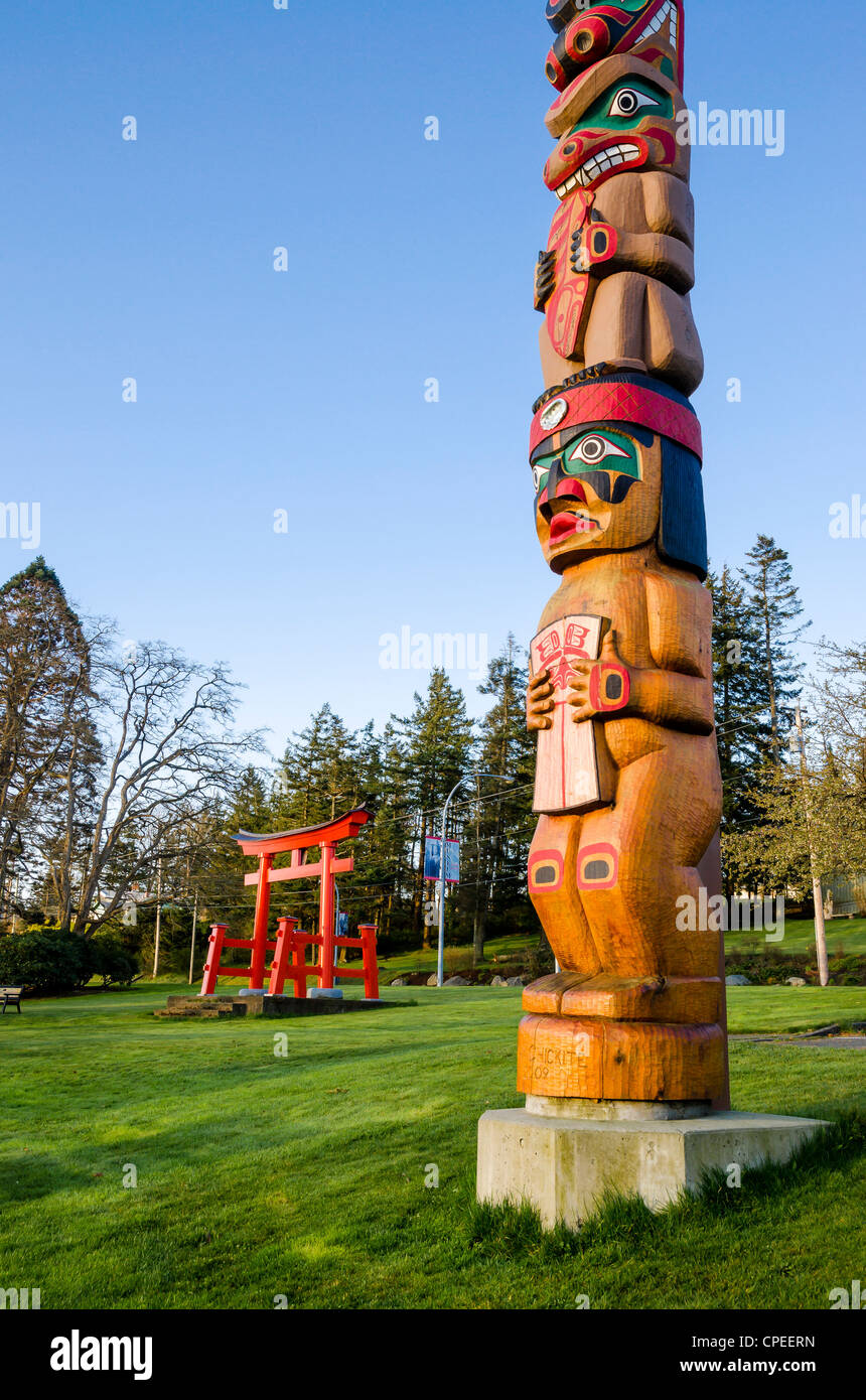 Totem Pole And Japanese Torii Gate, Sequoia Park, Campbell River, Vancouver  Island, British Columbia, Canada