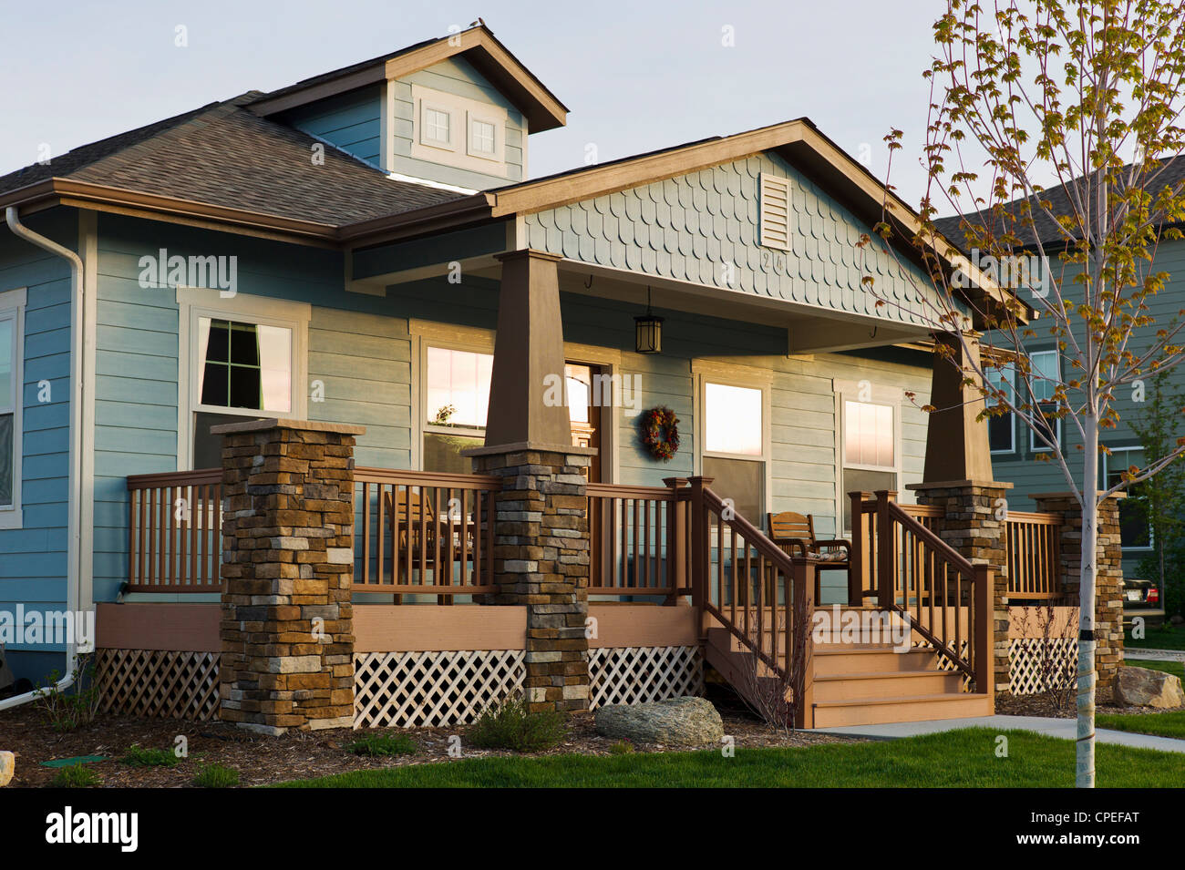Covered front porch craftsman style home royalty free stock image - Craftsman Style Residential Homes In Colorado Usa