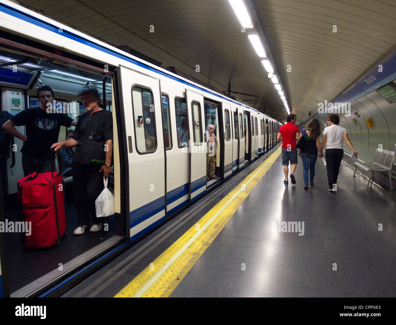 Train carriage at underground metro station platform in Madrid ...