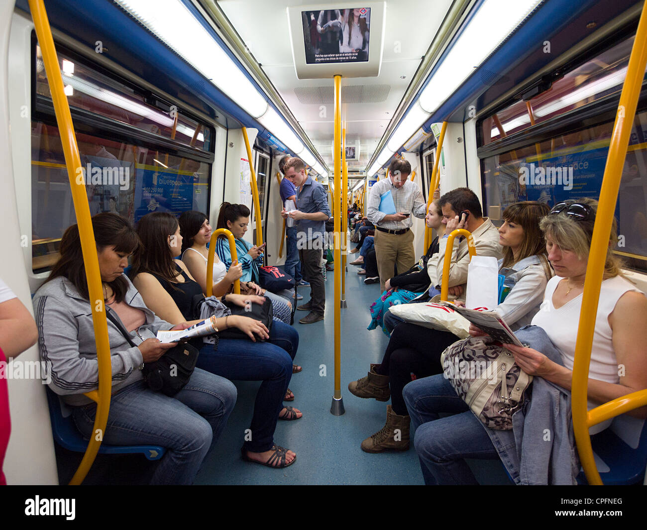 Passengers in a Madrid underground tube train, Madrid, Spain Stock ...