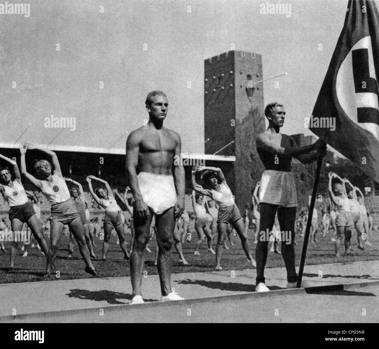 http://c8.alamy.com/comp/CPG5NB/sports-gymnastics-german-gymnasts-1930s-30s-team-flag-swastika-nazi-CPG5NB.jpg