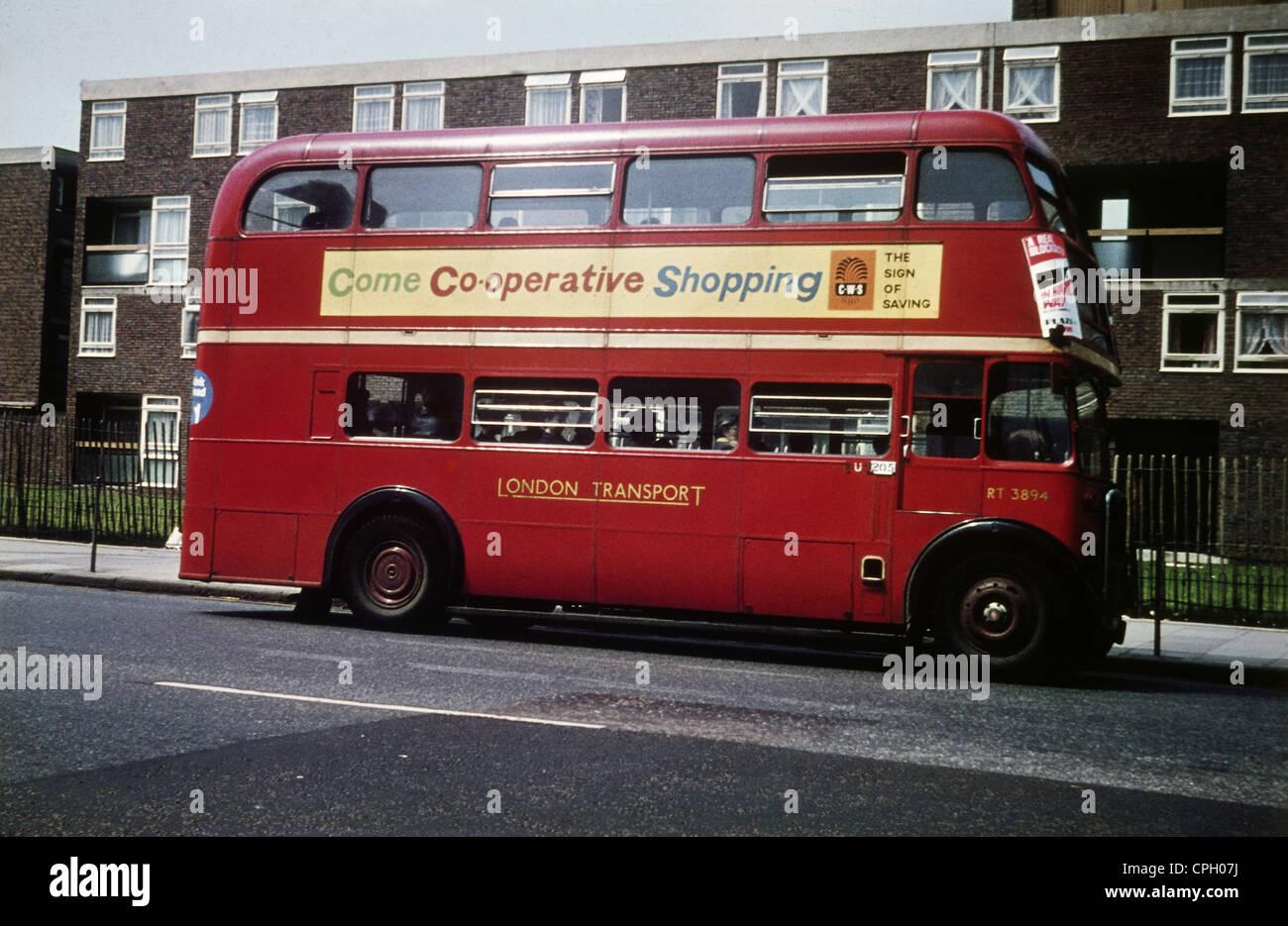 Stock photo transport transportation public transportation double decker london england great britain 1960s 60s 20th century hist