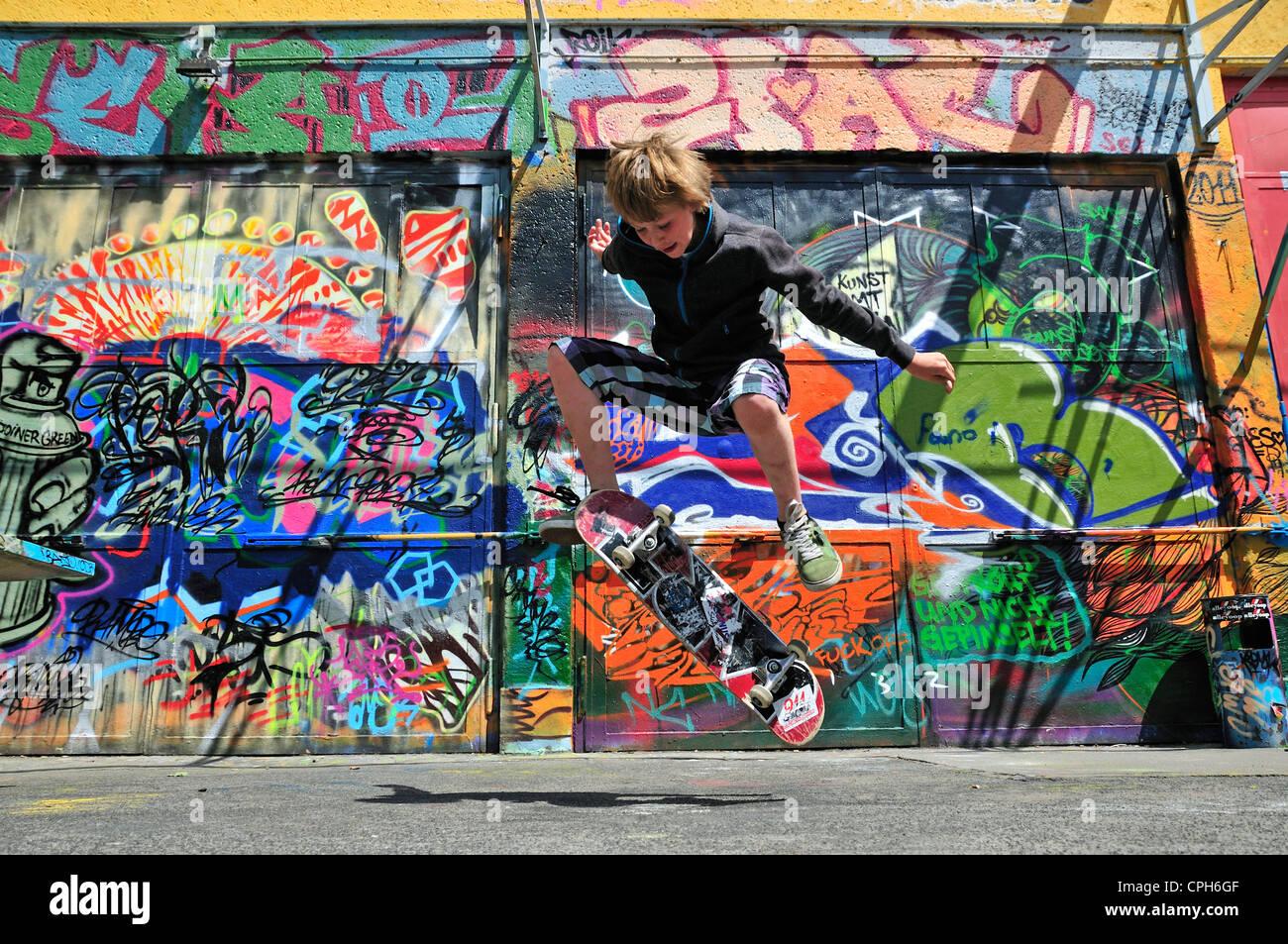 Graffiti wall activity - Boy Germany 11 Europe Leisure Activity Graffiti Wall Youth Culture Boy Kick Flip Kid Child Cologne Model Release N