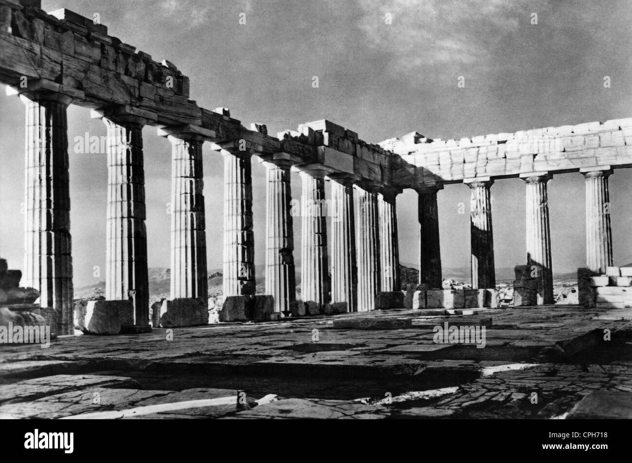 Ancient greek temple interior - Stock Photo Geography Travel Greece Athens Acropolis Parthenon Interior View 1960s Ruin Ruins Temple Temples Southeast Europe