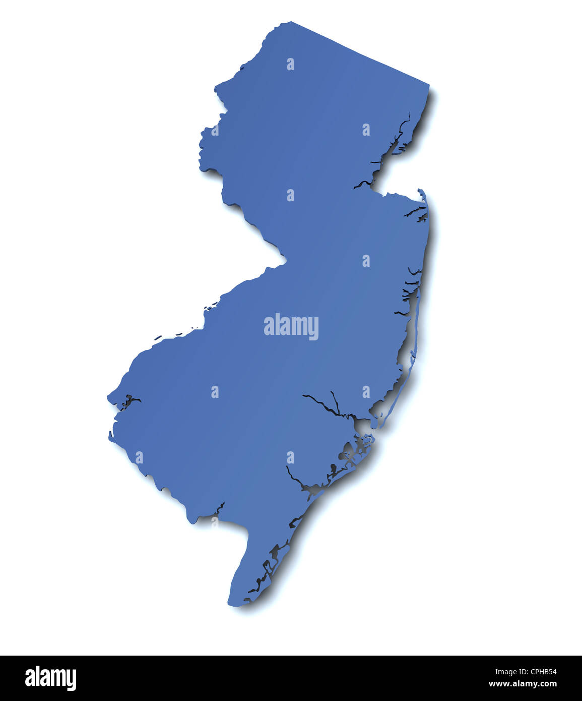 3d rendered map of the state of New Jersey  USA Stock Photo