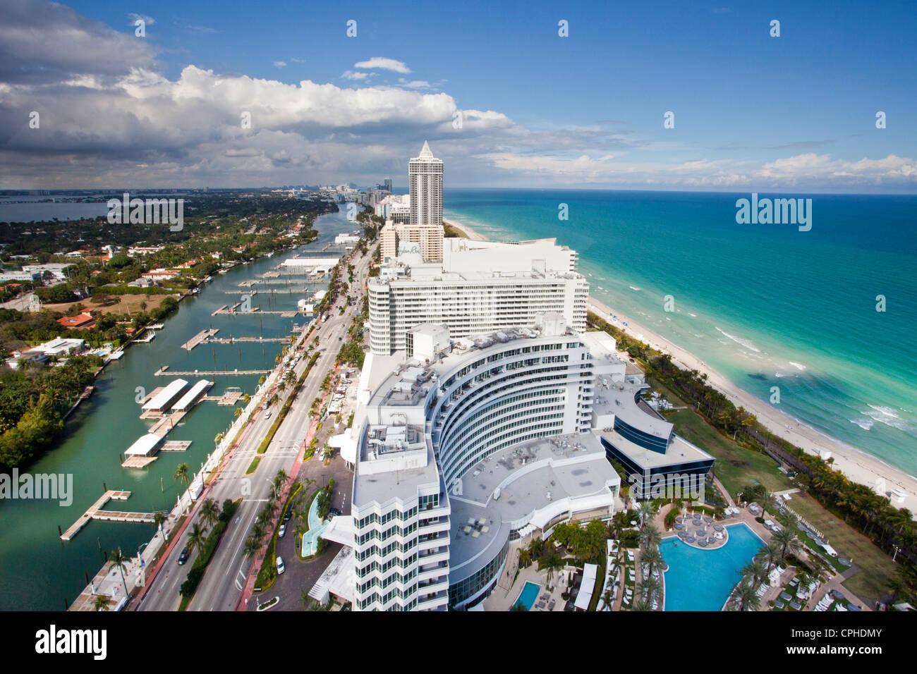 Stock photo usa united states america florida miami water architecture beach blue emerald famous hotels island long sea touri