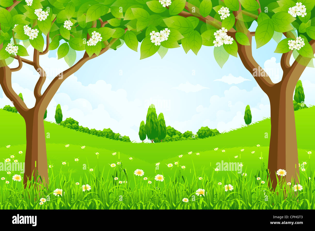 Green Background with Trees Flowers and Hills Stock Photo Royalty