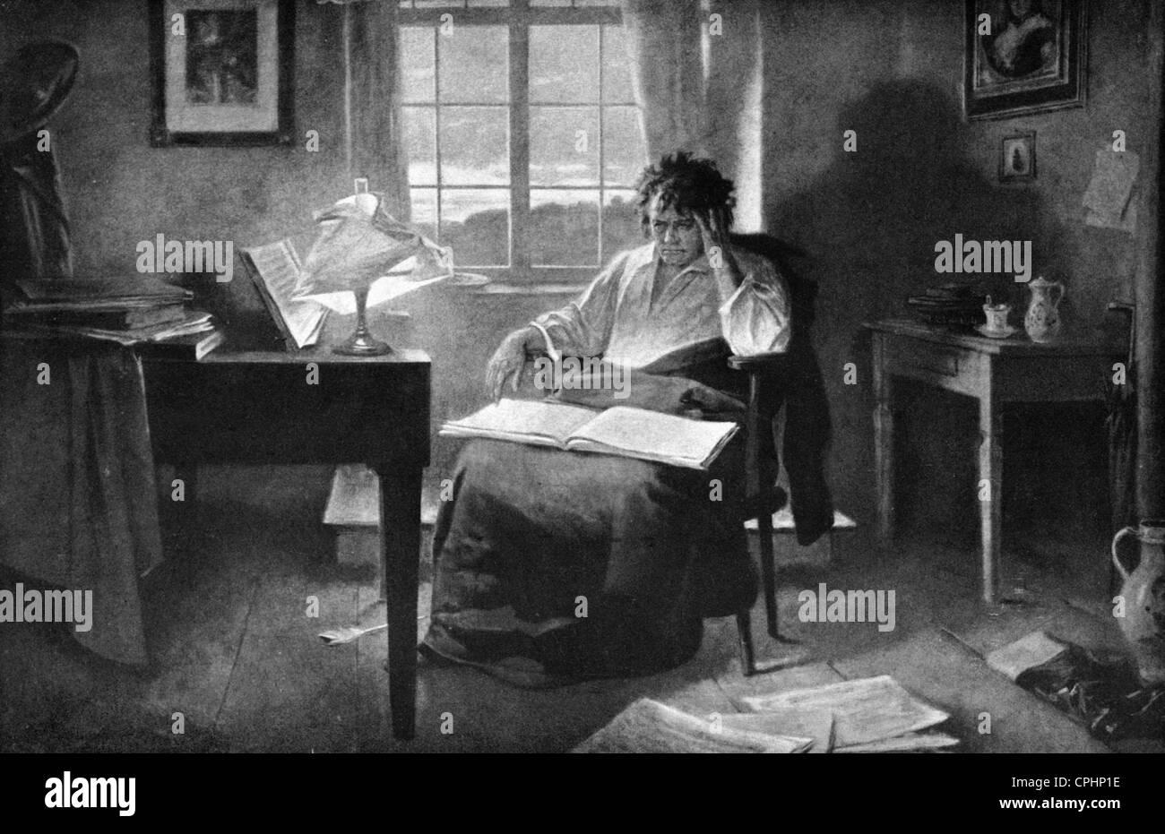ludwig van beethoven in his study stock photo royalty