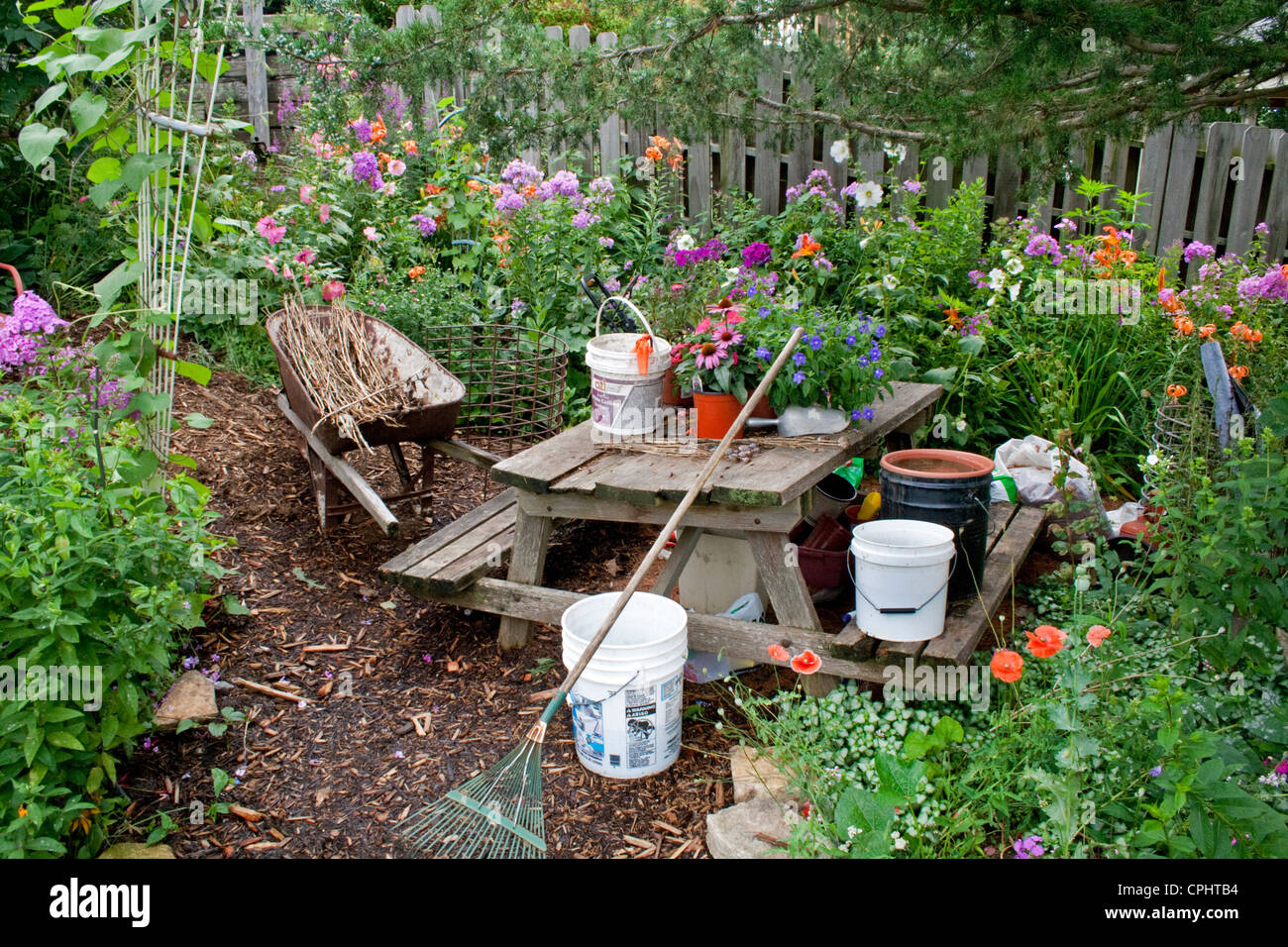 Flower Garden Work Area And Table Lanesboro Minnesota Mn