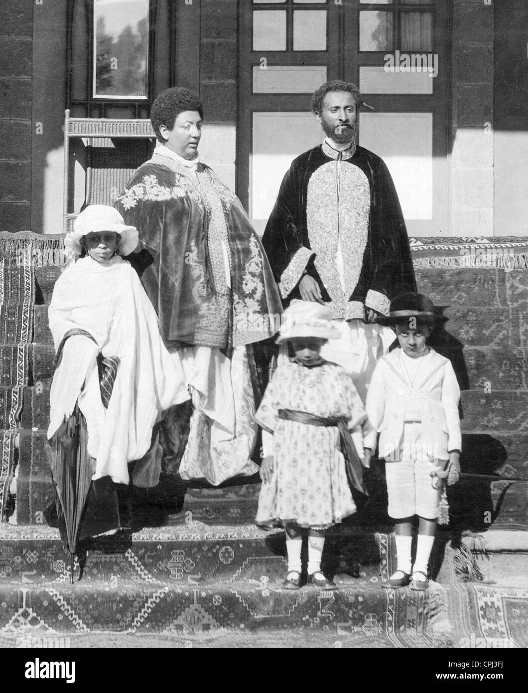 Emperor Haile Selassie and his family, 1928 Stock Photo ...