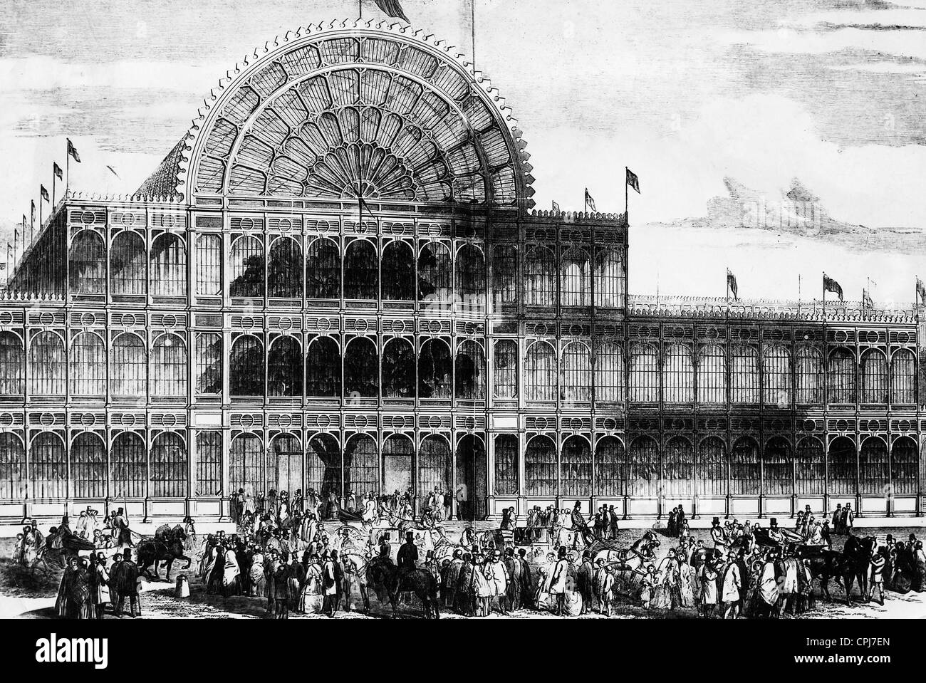 contemporary illustration of the crystal palace in london