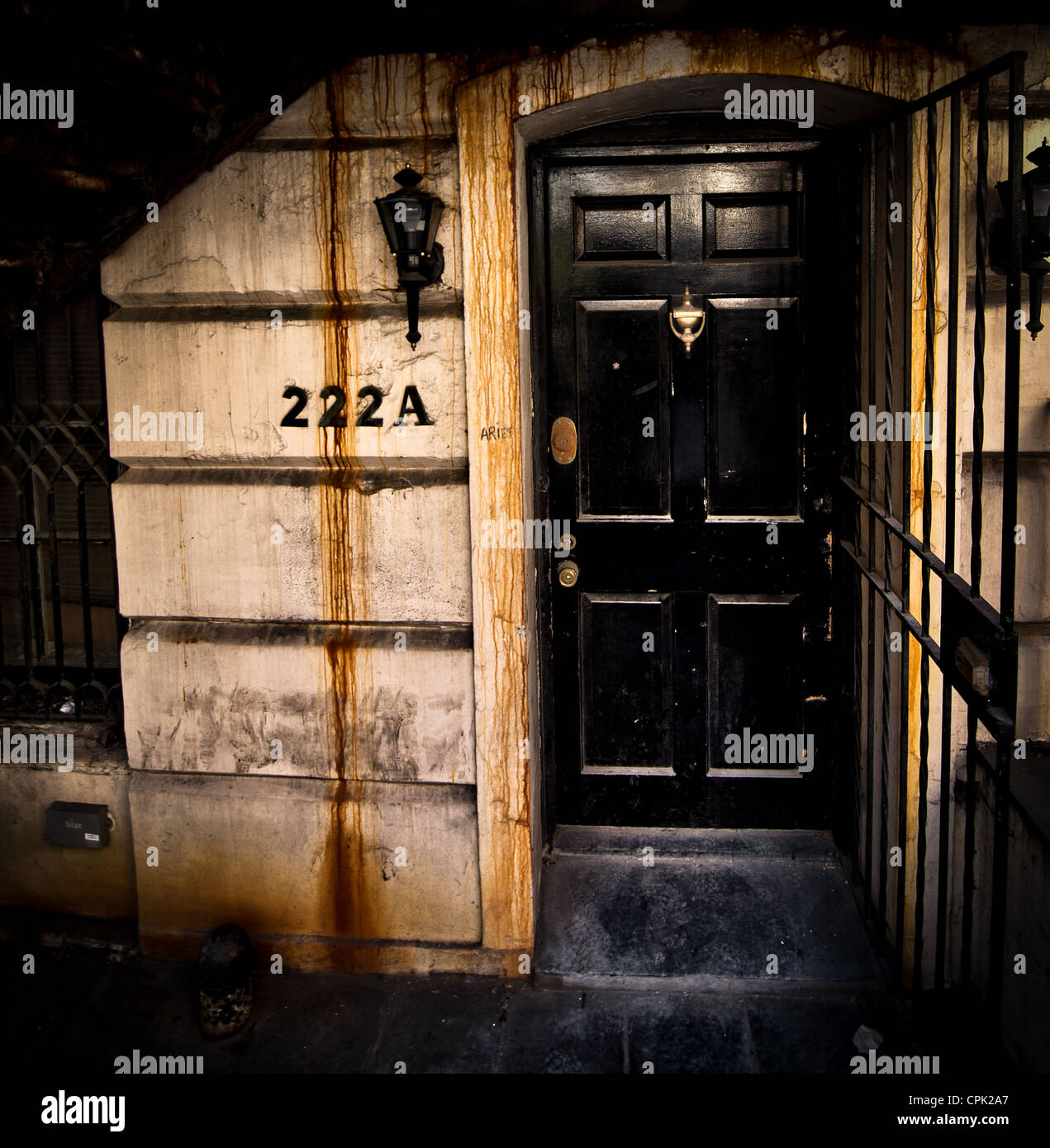 The Doorway Of A Basement Apartment In New York City Stock