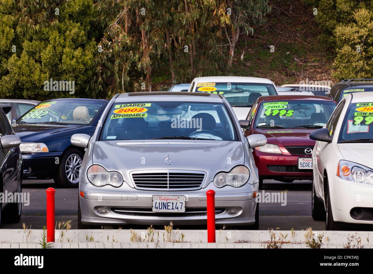 Mercedes Benz on a used car sales lot - California USA Stock Photo ...