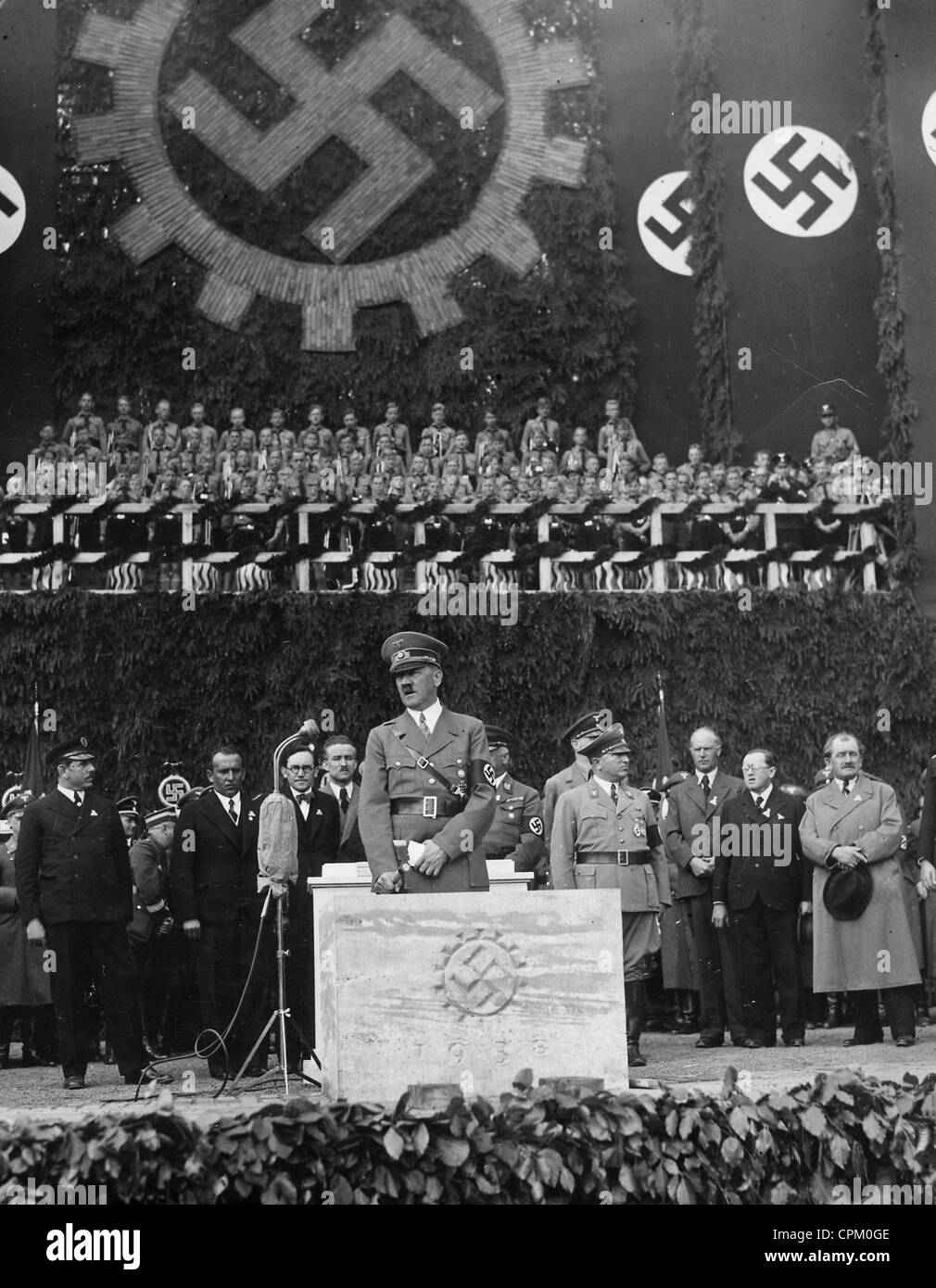 Adolf Hitler at the groundbreaking ceremony of the VW plant in Stock Photo, Royalty Free Image ...