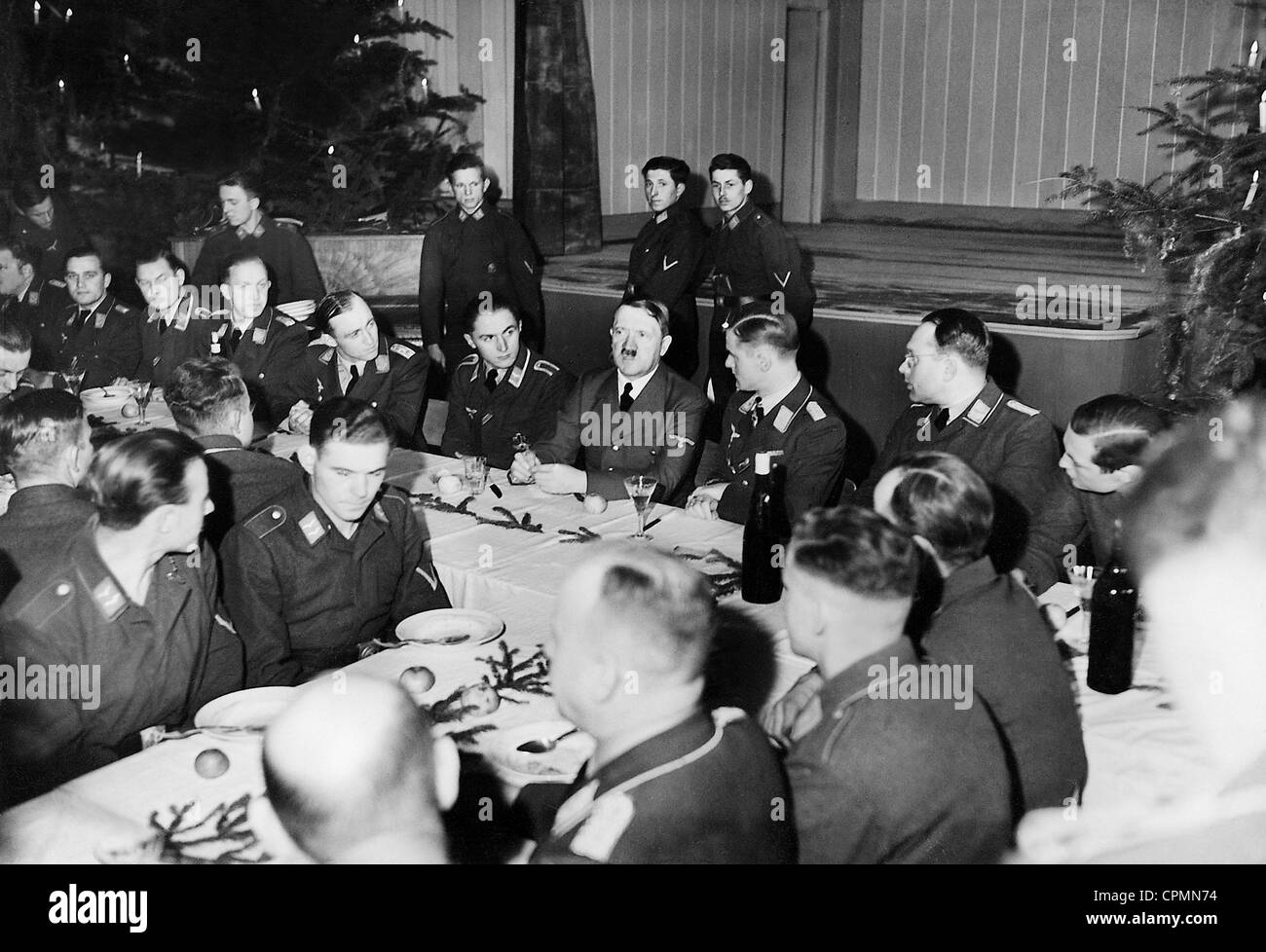 adolf hitler during a troop visit at christmas 1940 stock. Black Bedroom Furniture Sets. Home Design Ideas