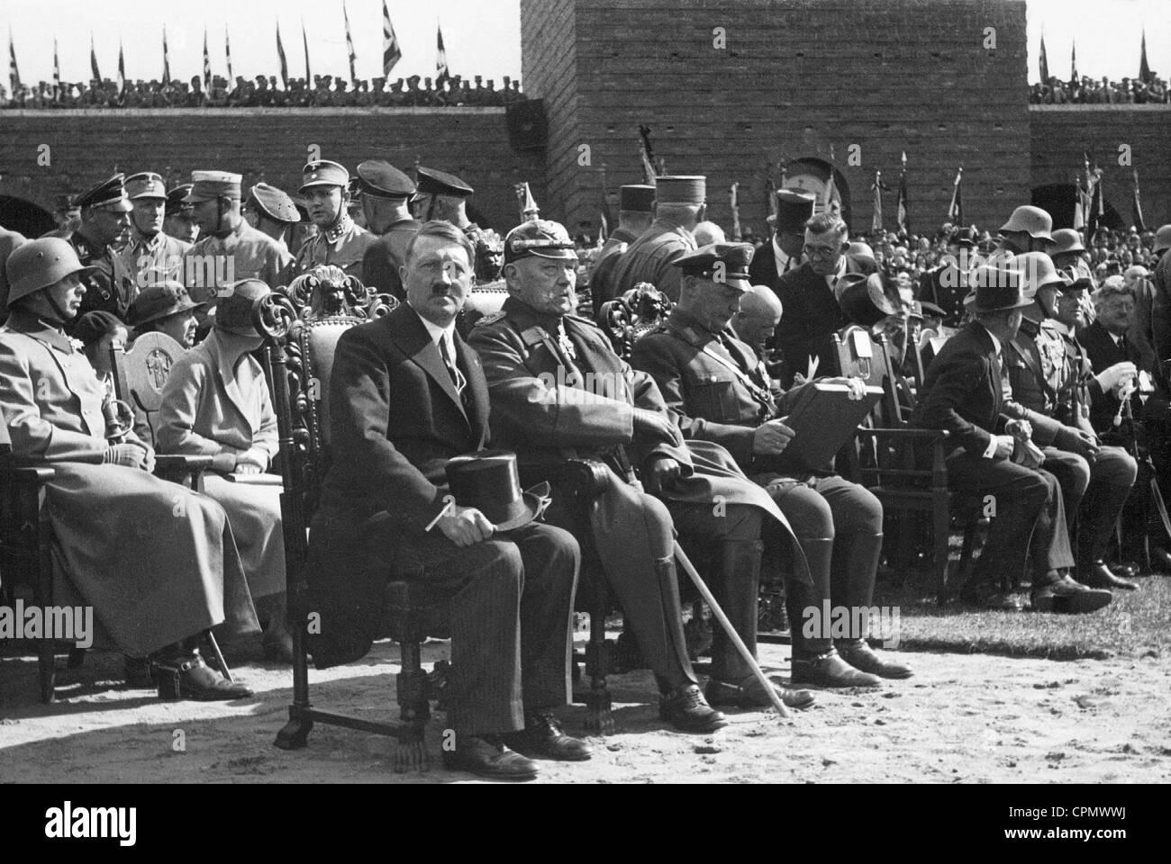 Adolf Hitler. Paul von Hindenburg, Hermann Goering during ...