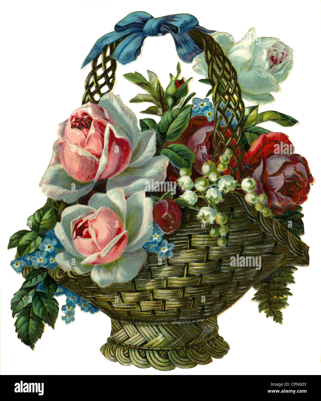 Kitsch Souvenir Flower Bouquet Basket Of Wicker Mesh Scrap Picture Germany 1894 Rose Red White Pink Roses Bo