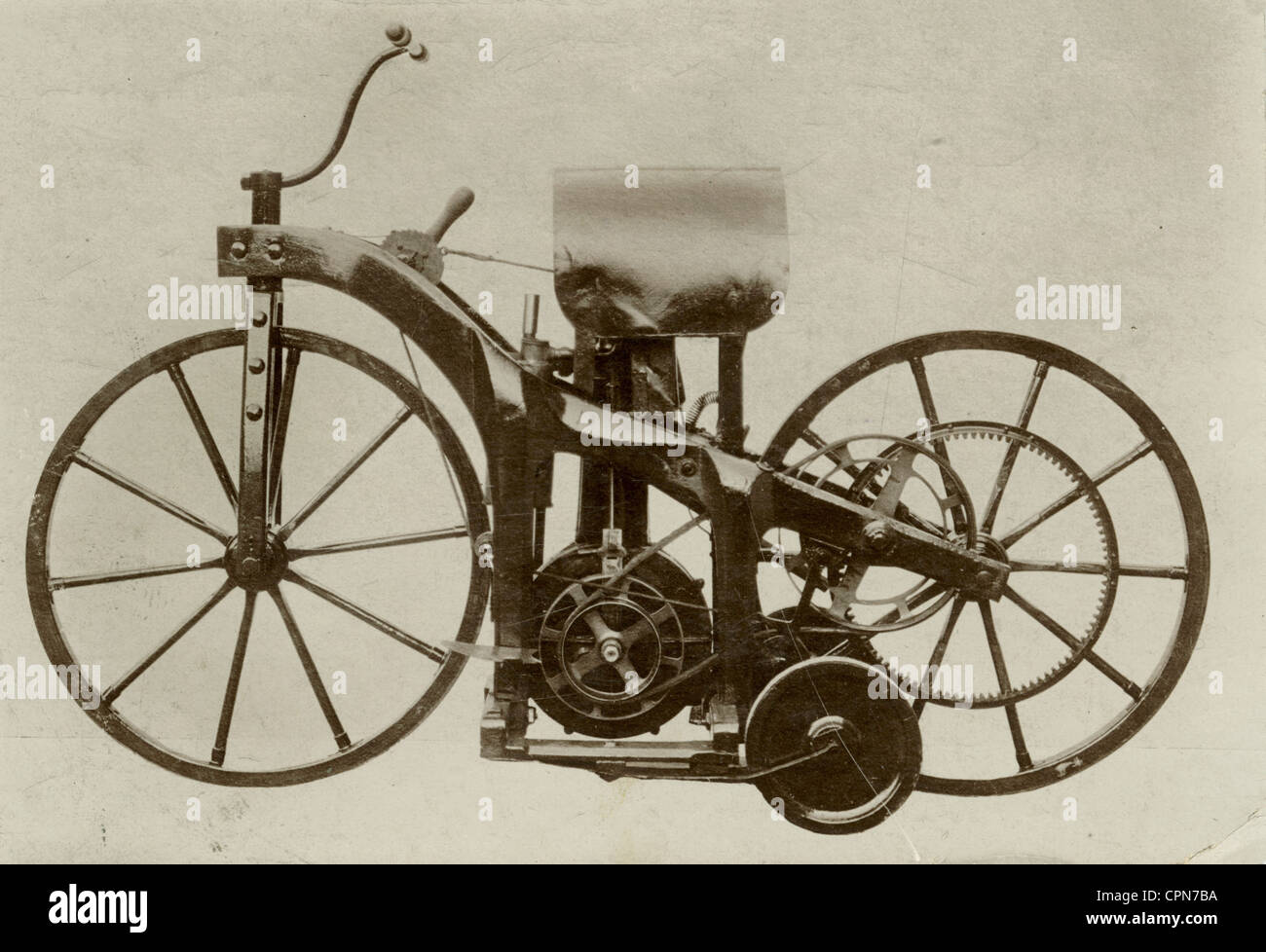 first motorcycle 1885. stock photo - transport, motorcycle, first motorcycle in the world, constructed by gottlieb daimler and wilhelm maybach, patented as paraffin 1885