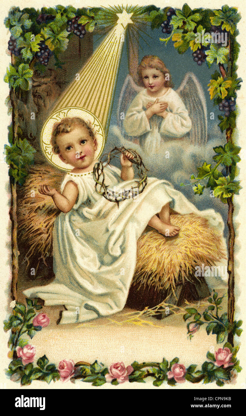 kitsch postcards christmas baby jesus in the cradle stock photo