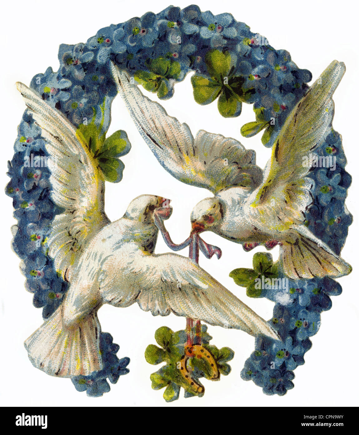 Symbols good luck symbols horseshoe with two turtledoves and symbols good luck symbols horseshoe with two turtledoves and clover leaf scrap picture germany 1891 forget me not clover biocorpaavc Choice Image