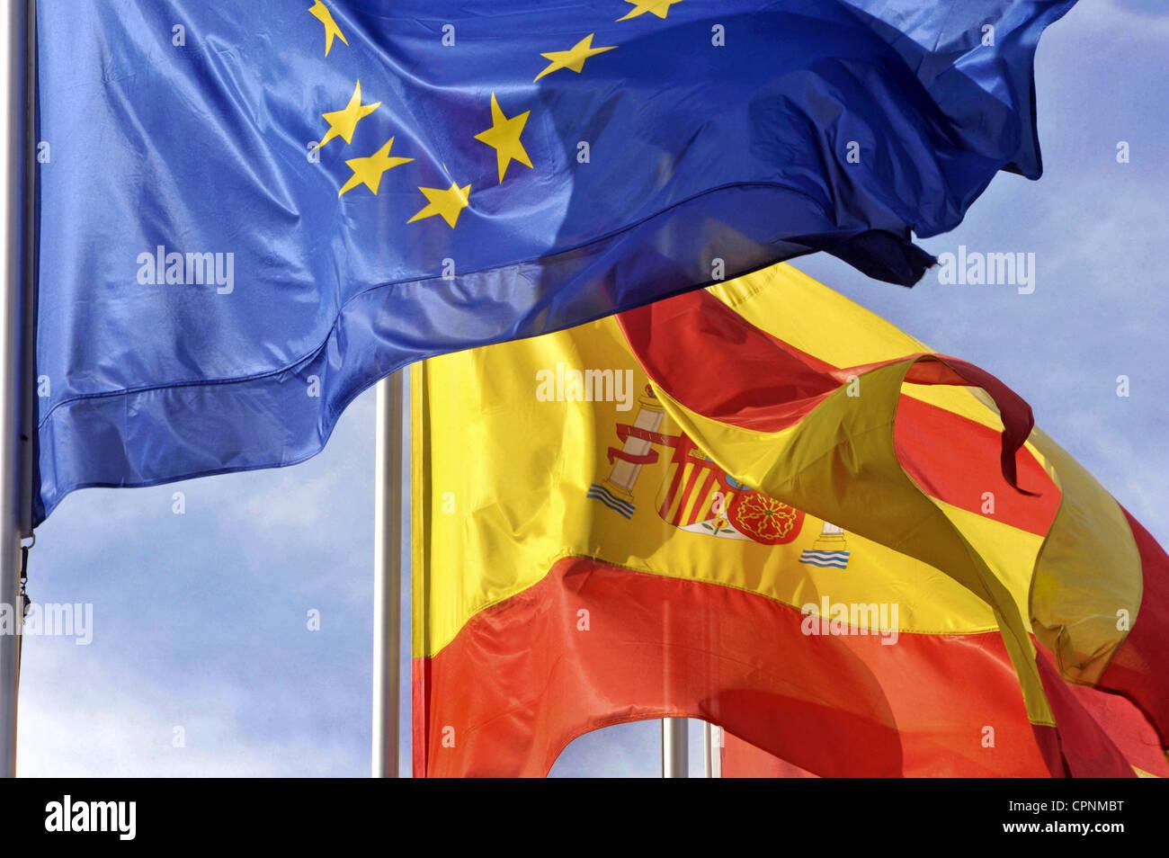 heraldry flag spain european and spanish flag waving in the