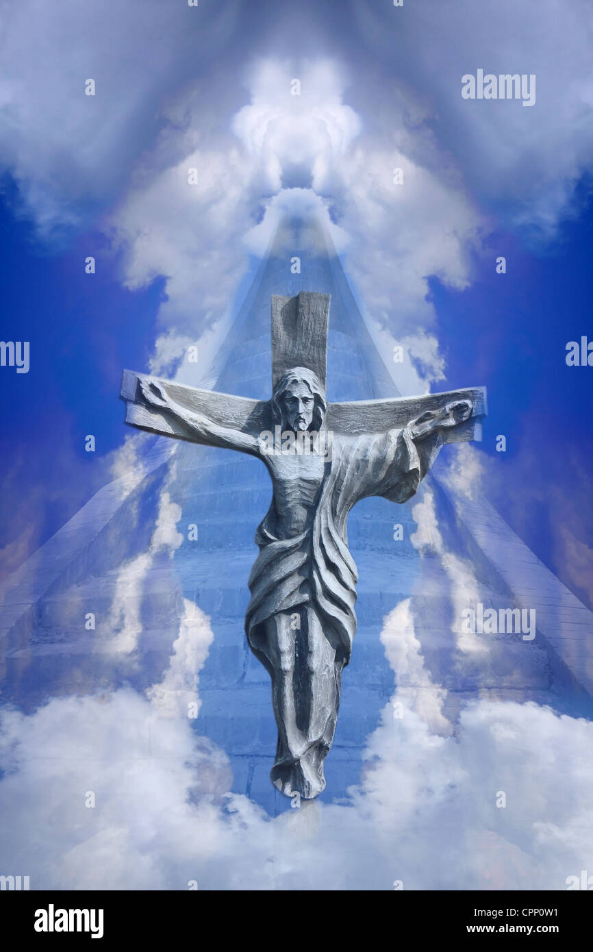 one of ways to heaven trought the cross by jesus christ concept