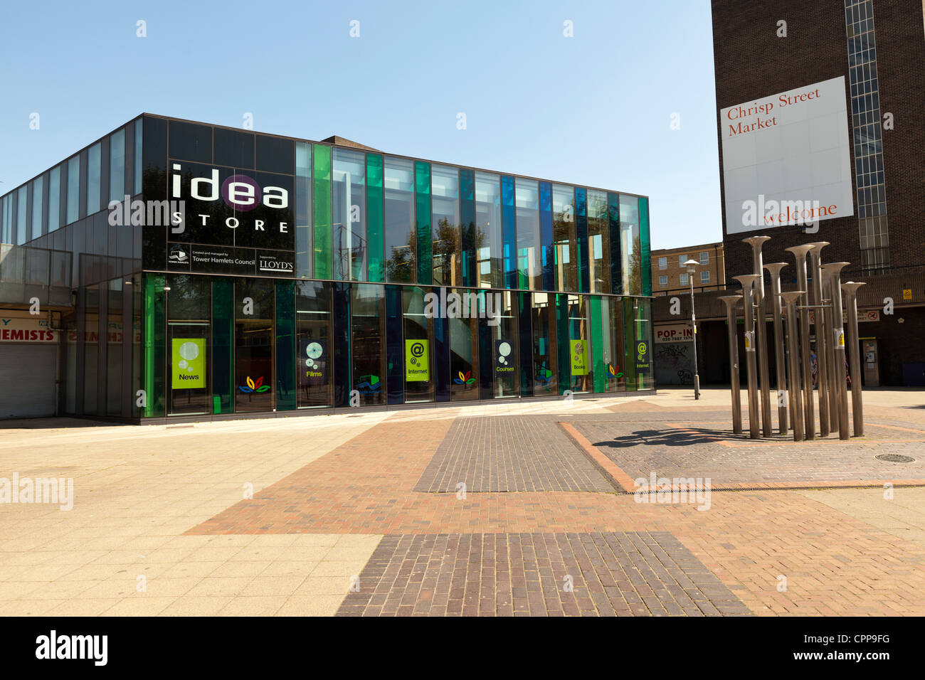 Idea Store (Library), Chrisp Street Market, Poplar, Tower Hamlets Stock Photo, Royalty Free ...