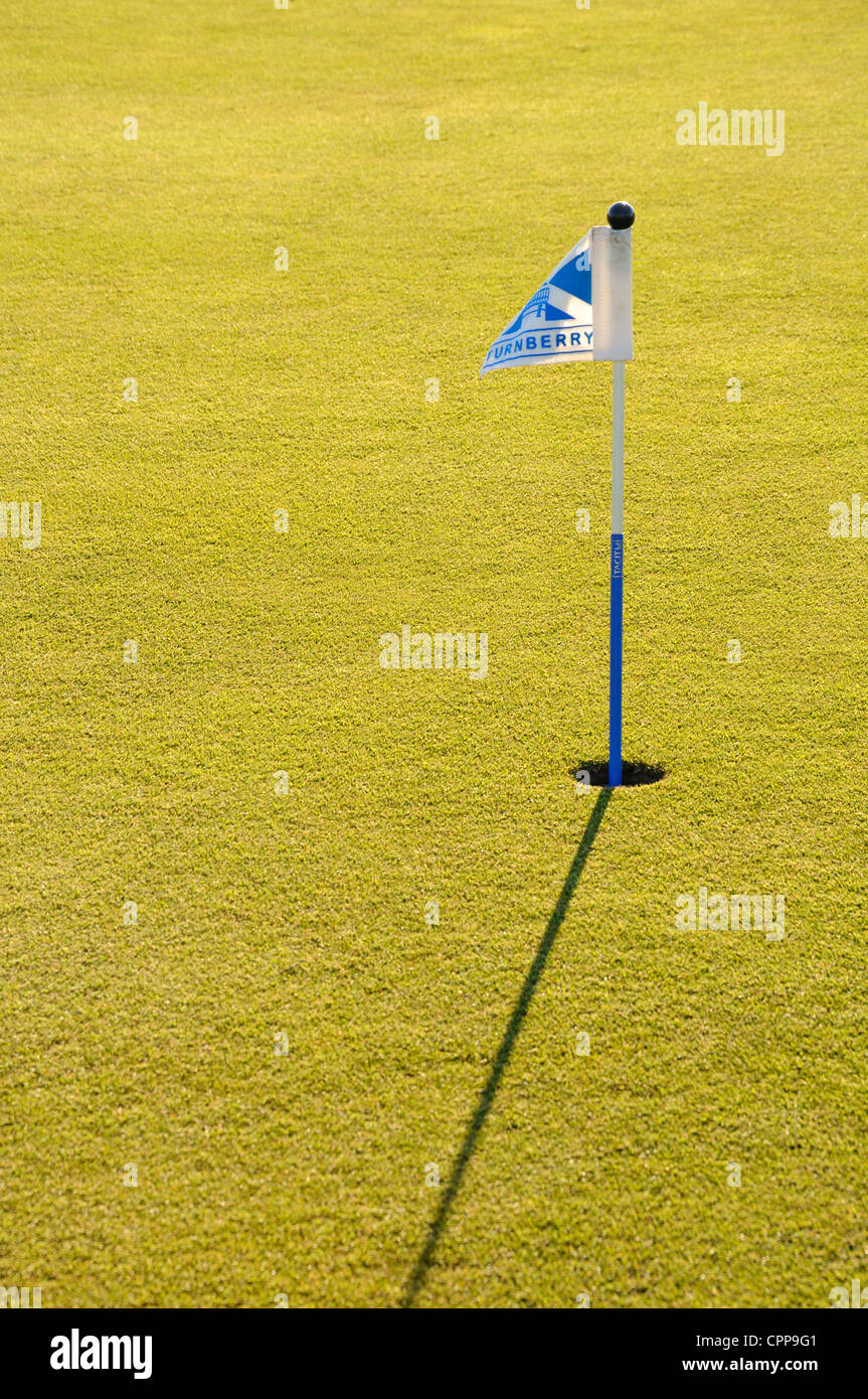 small putting green flag pole at turnberry golf course scotland