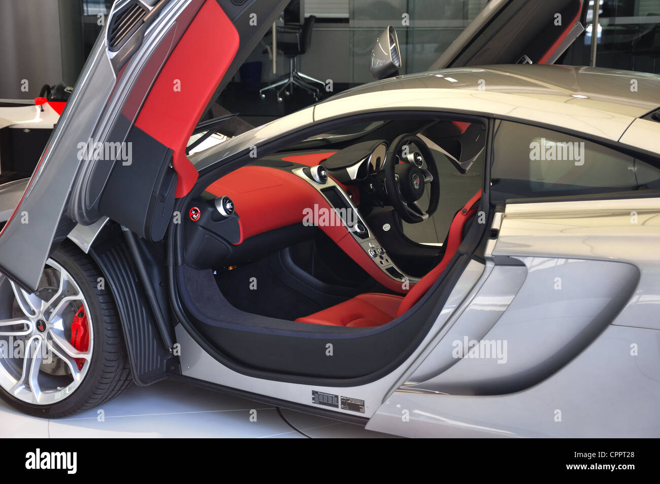 Cockpit of a McLaren MP4 supercar with both gullwing doors in the open position & Cockpit of a McLaren MP4 supercar with both gullwing doors in the ... Pezcame.Com