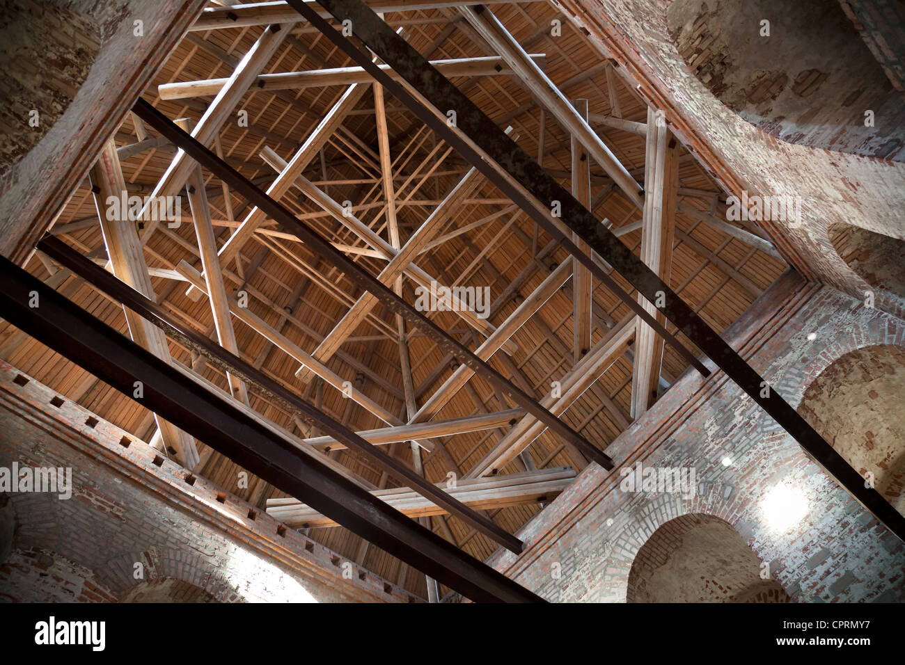 High Quality Inner Construction Of Wooden Roof It Tower Of Ancient Fortress (Kremlin) In  Smolensk Town, Russia