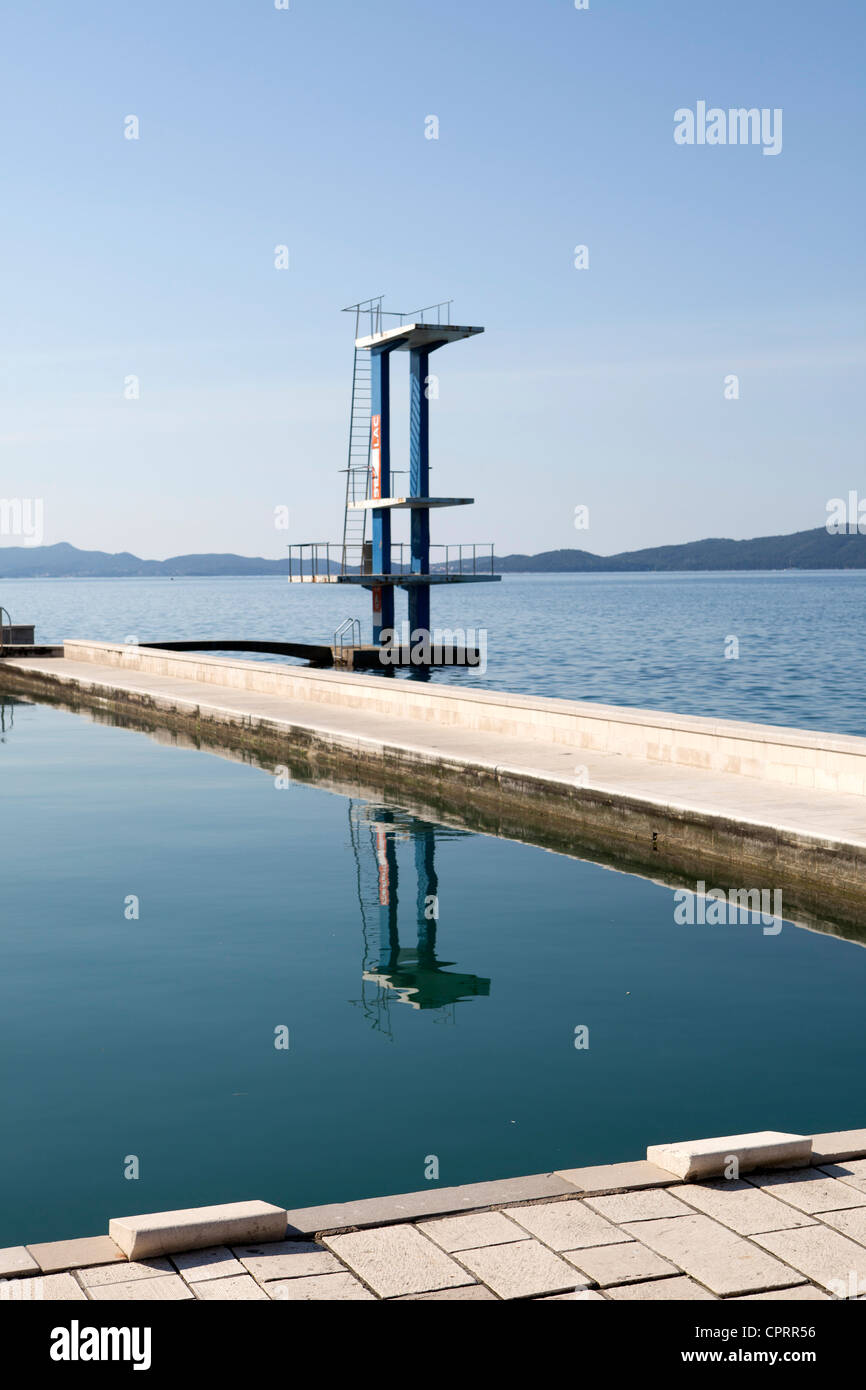 old swimming pool and diving board zadar croatia stock photo royalty free image 48466242 alamy