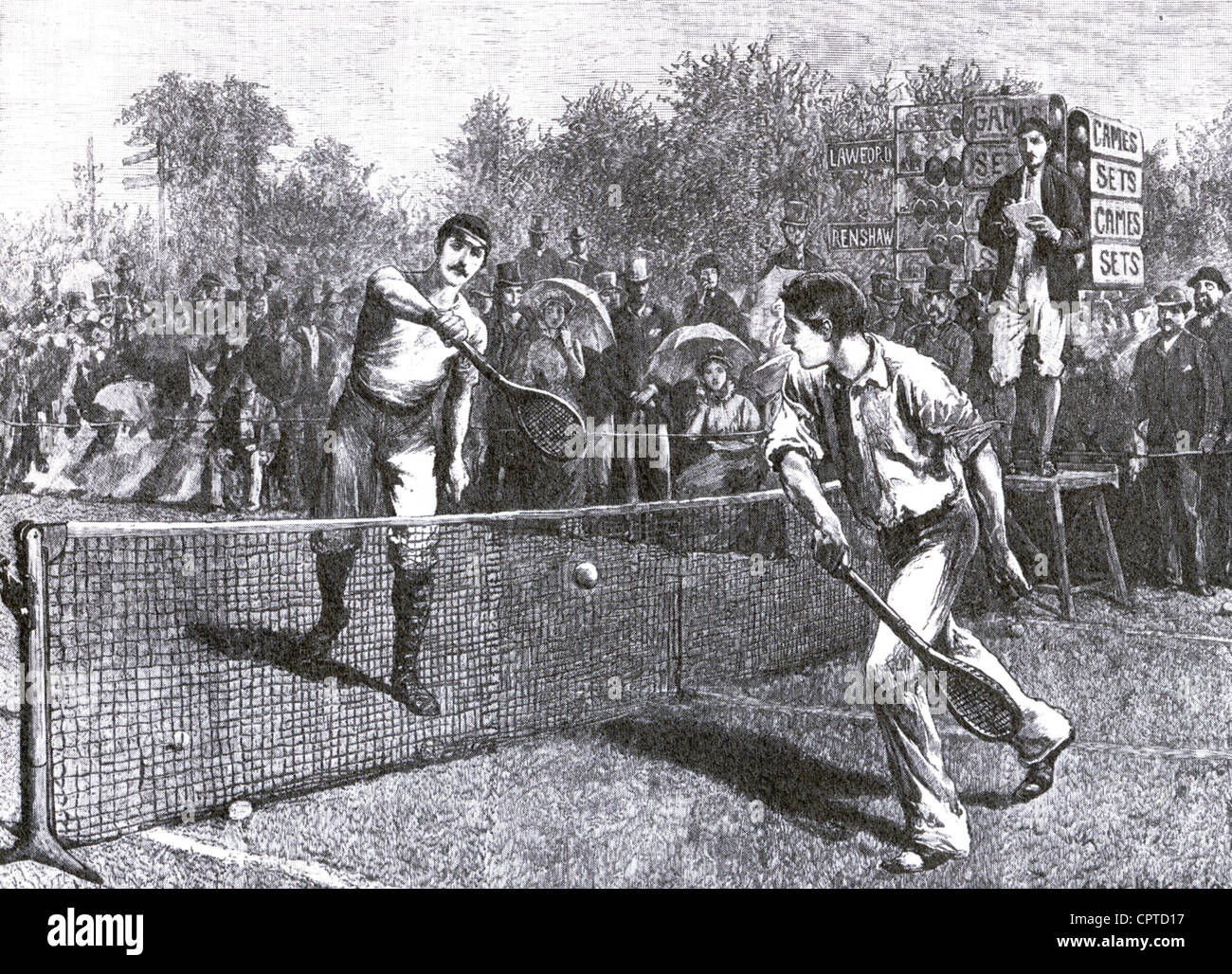 WIMBLEDON 1881 MEN S SINGLES match between William Renshaw at left