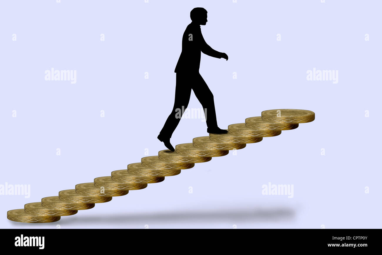 Silhouette of man climbing stairs made of £1 coins, indicating ... for Climbing Stairs To Success  110zmd