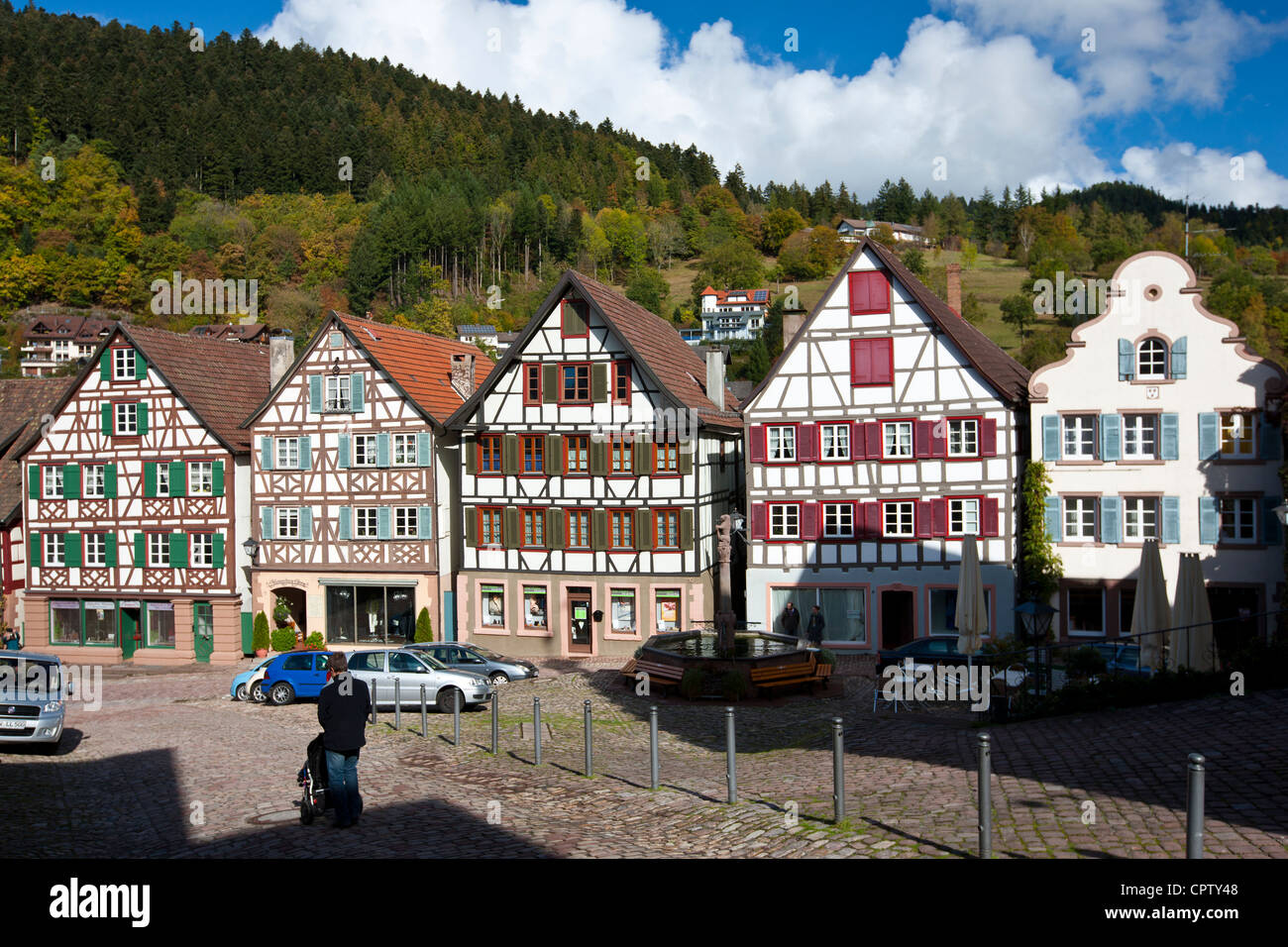 quaint timber framed houses in schiltach in the bavarian