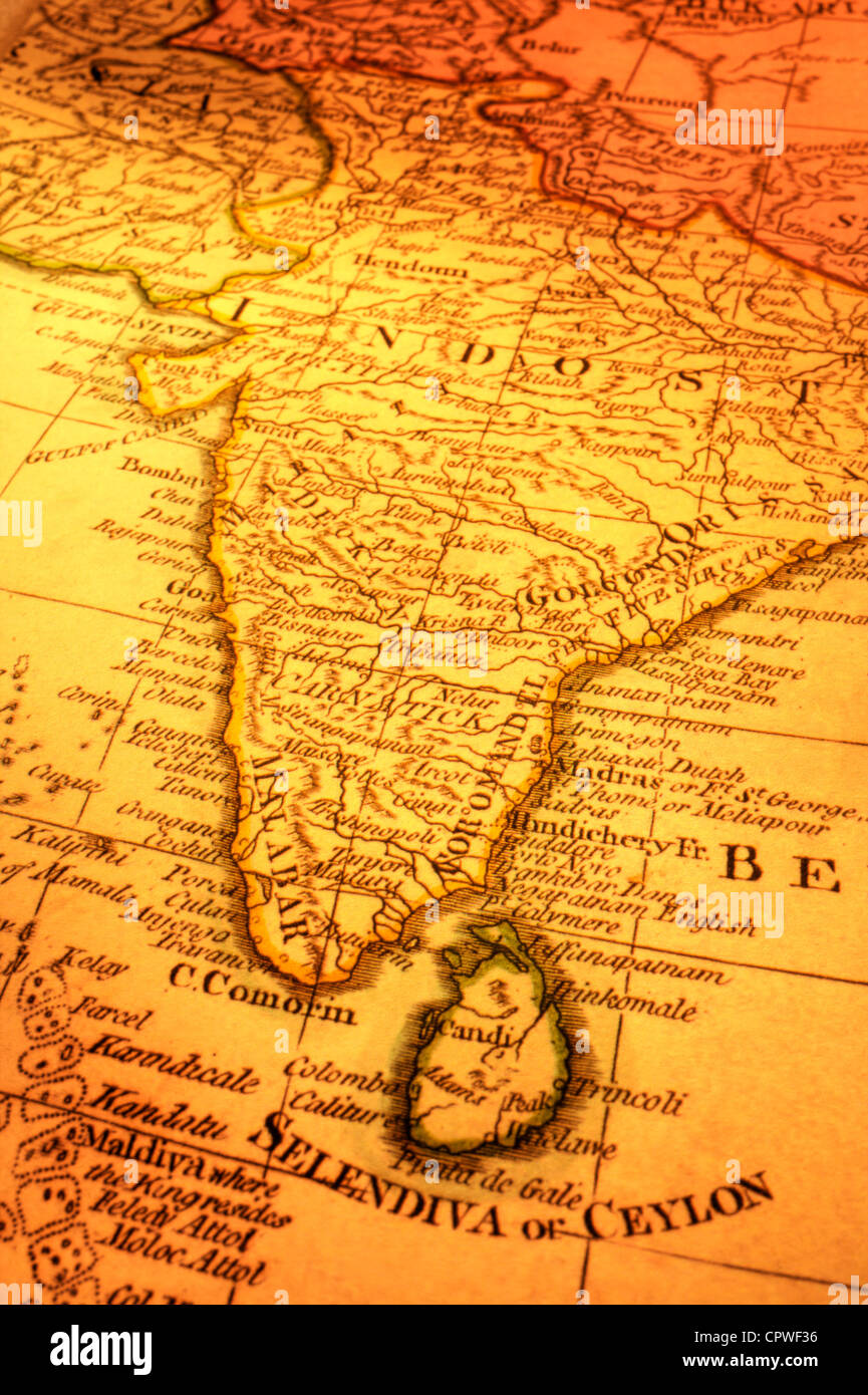 ancient map of india and sri lanka focus is on madras map is