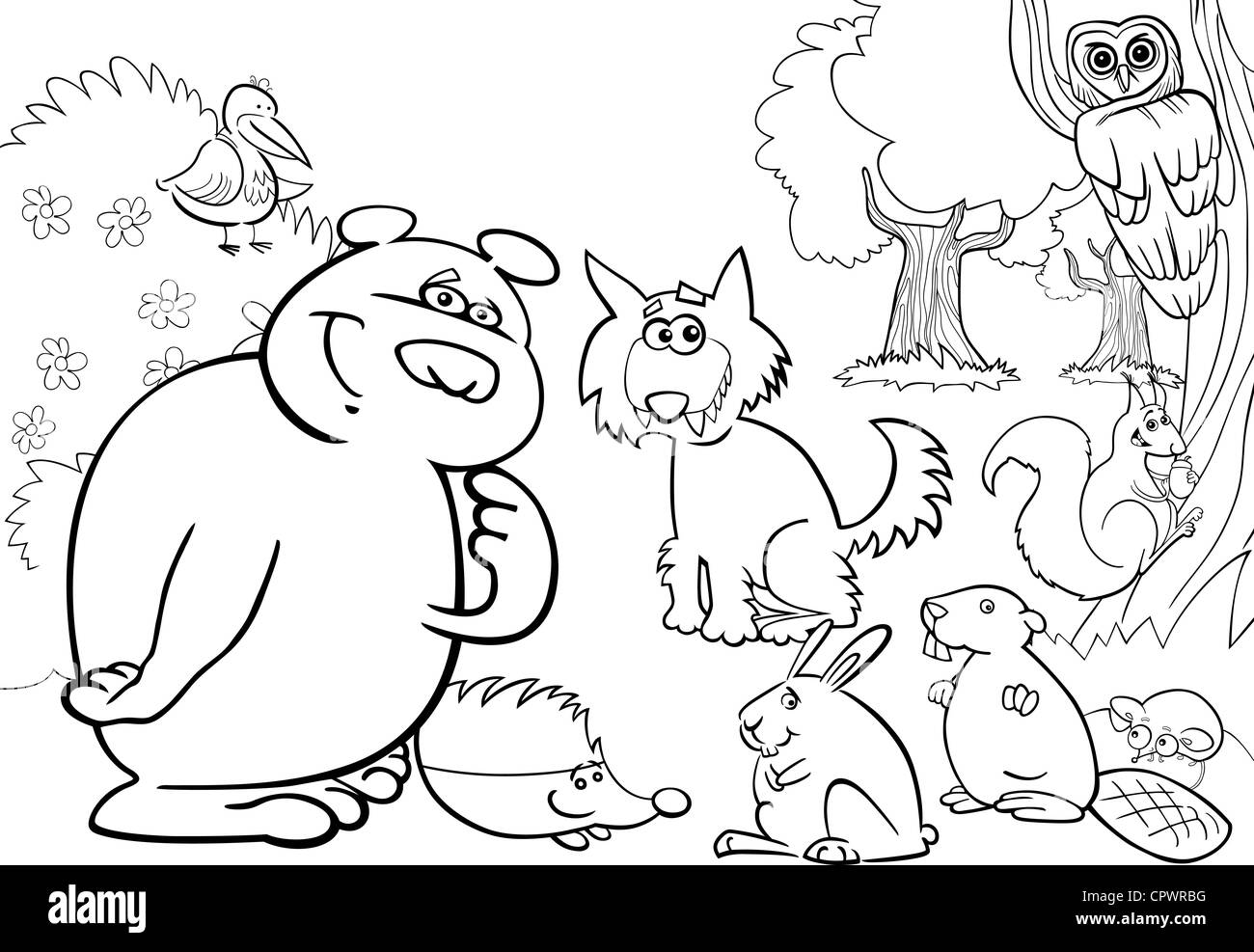 Animal kingdom coloring book gorilla - Stock Photo Cartoon Illustration Of Wild Forest Animals For Coloring Book