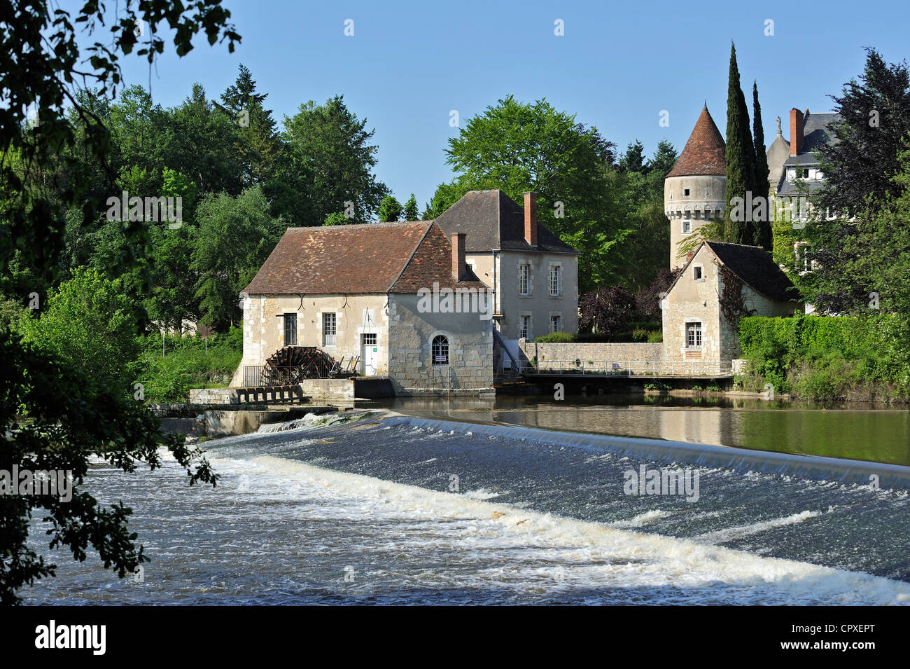 watermill of the abbey abbaye notre dame de fontgombault benedictine stock photo 48525536 alamy. Black Bedroom Furniture Sets. Home Design Ideas