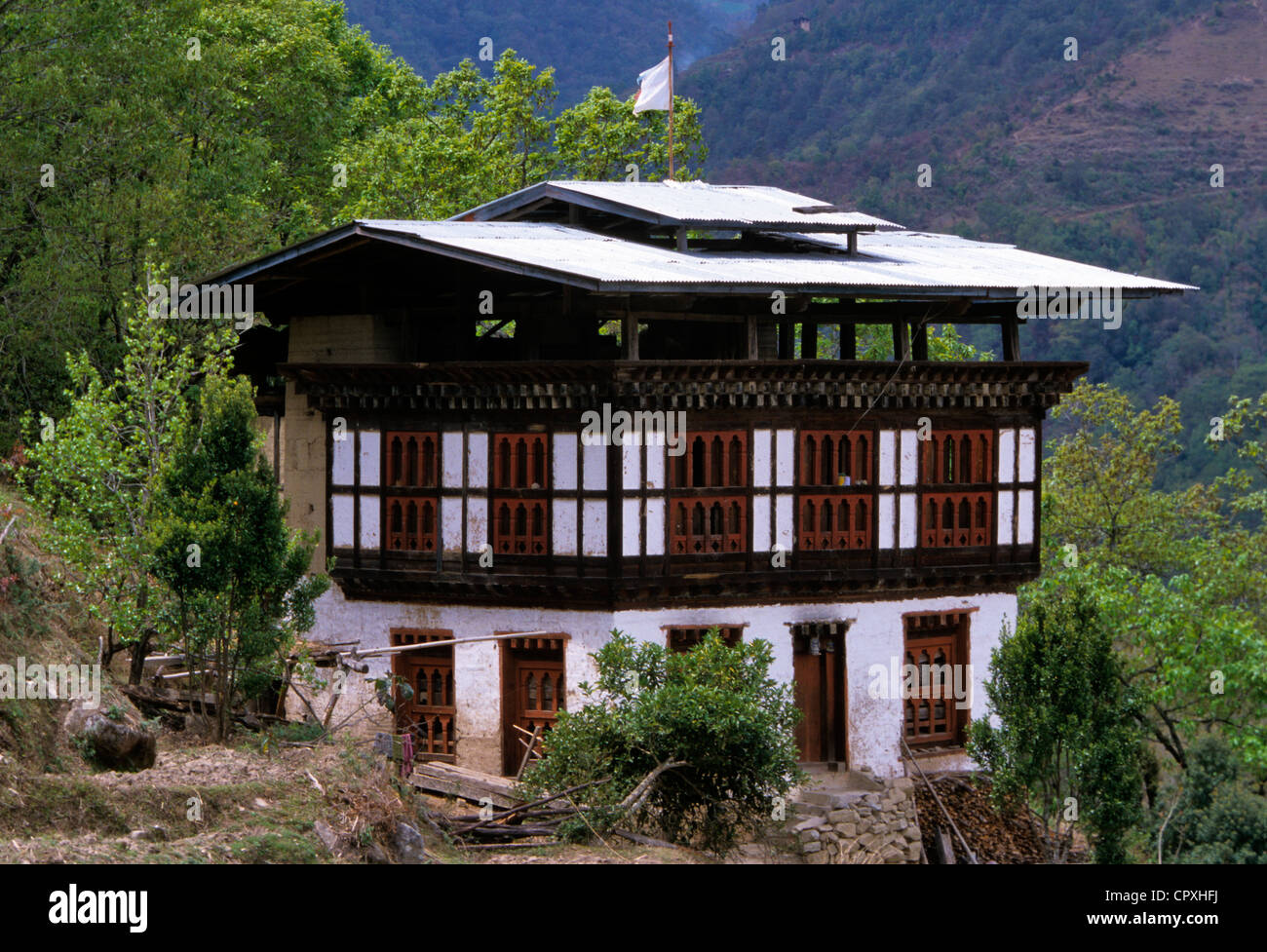 bhutan traditional wooden rammed earth house with a roof covered stock photo royalty free. Black Bedroom Furniture Sets. Home Design Ideas