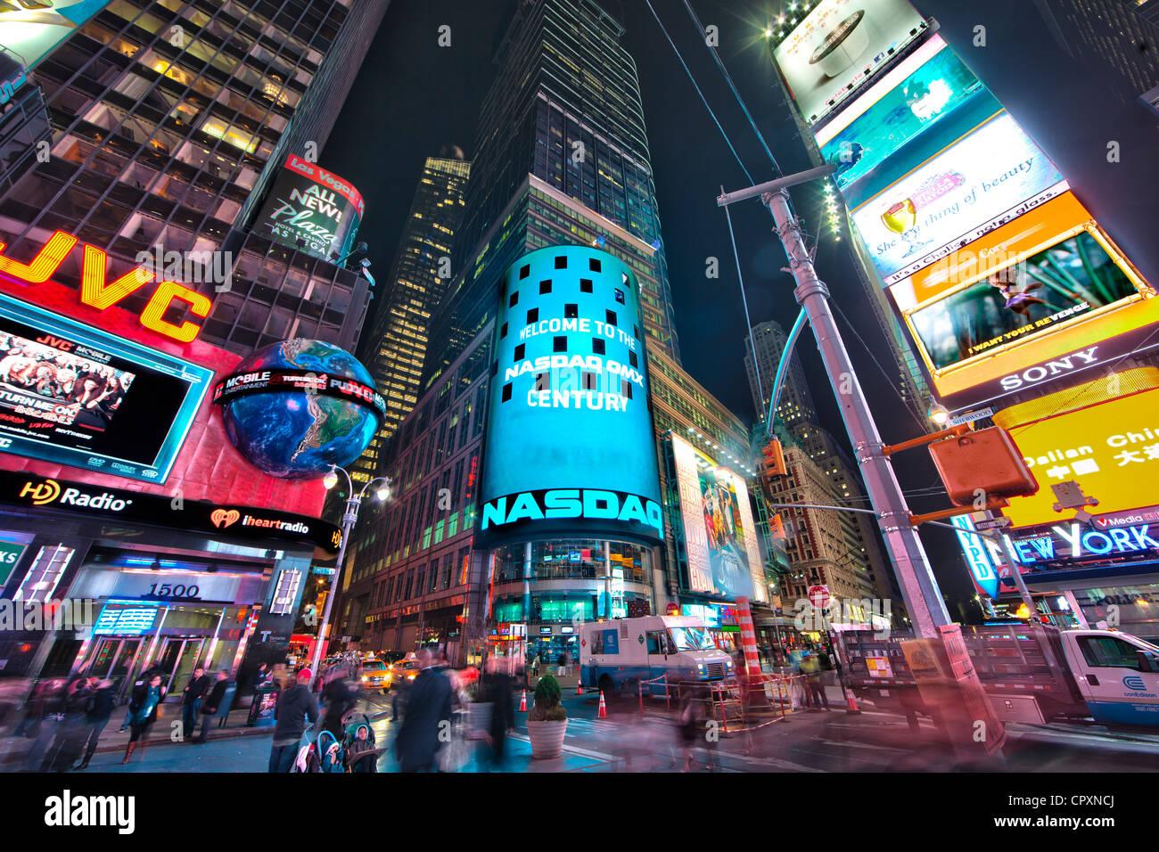 Nasdaq Marketsite Building At Night In Times Square In