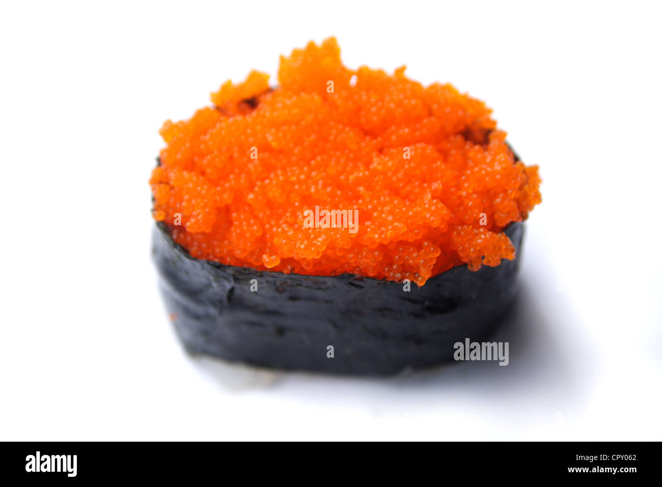 Tobiko sushi flying fish eggs sushi stock photo royalty for Fish eggs on sushi