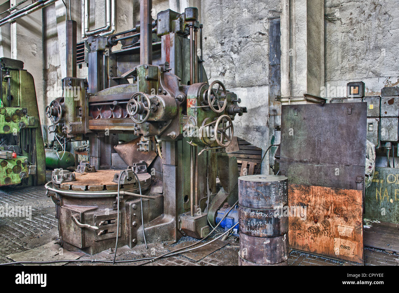 Old machinery in an old abandoned factory in Rijeka ...