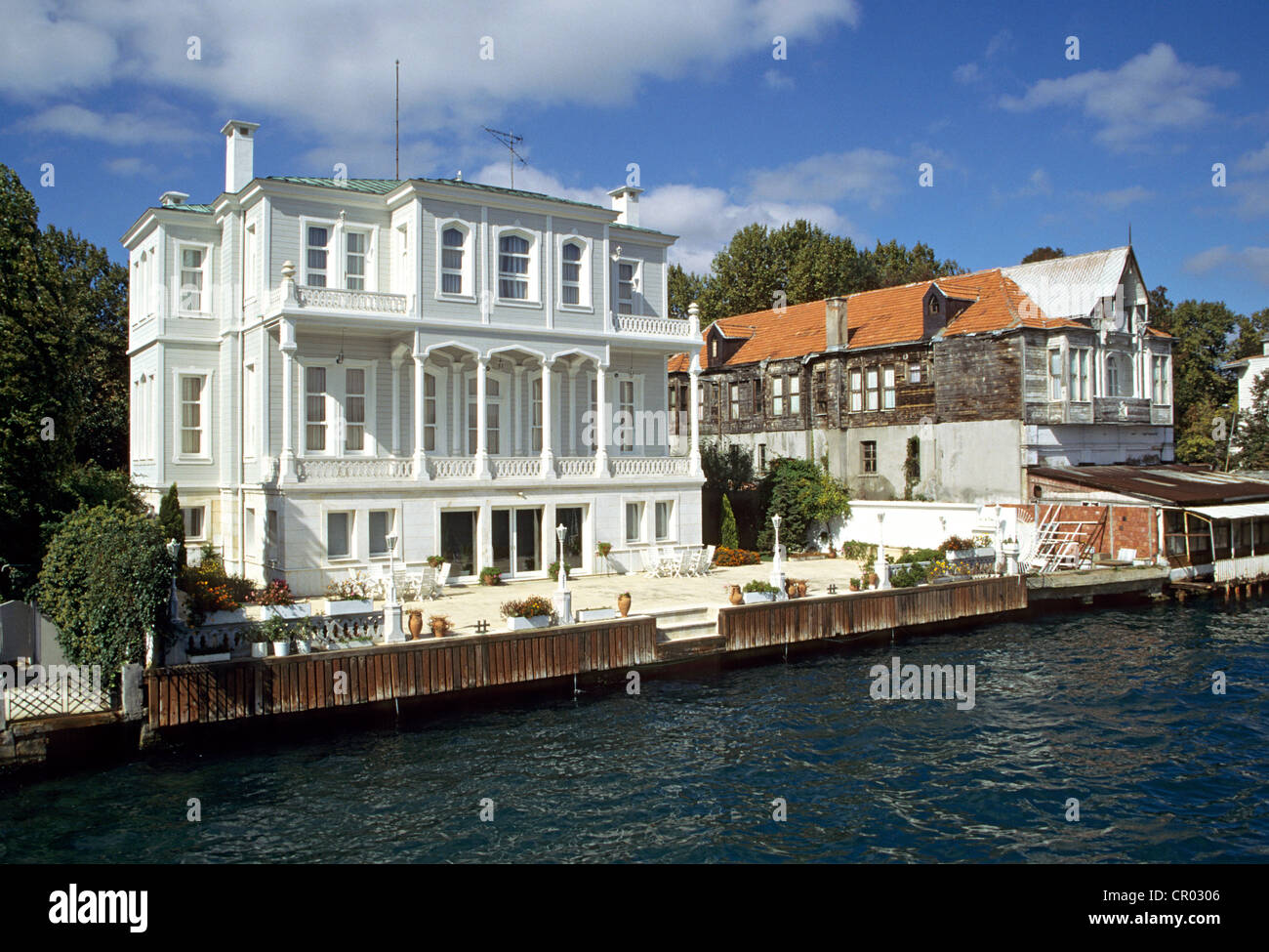 Turkey, near Istanbul, Yenikoy, yali (typical wooden house ...