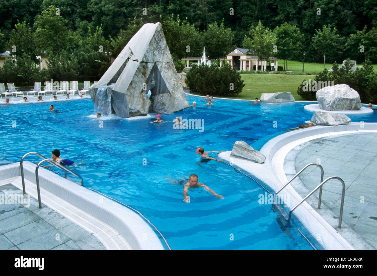 Tourists Swimming In Open Air Swimming Pool Of The Quellenhof Stock Photo Royalty Free Image