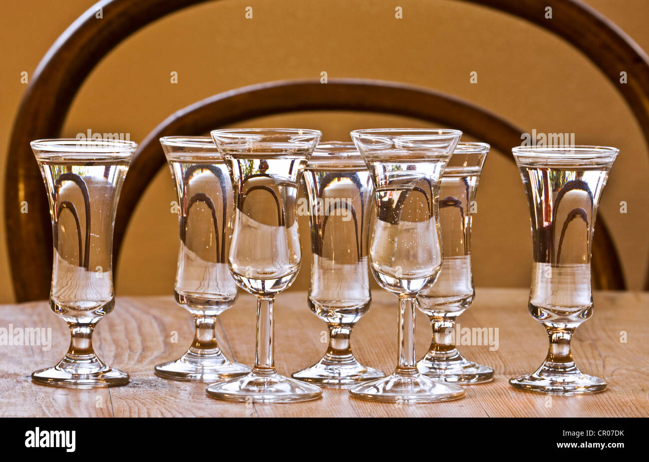 Drinking Glasses On Table Filled With Dutch Gin Jenever
