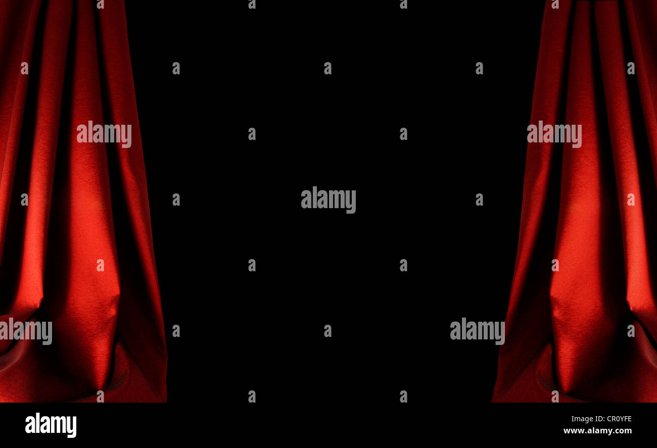 Opening and closing red curtain stock animation royalty free stock - Stock Photo Red Curtain Stage In Dark Background