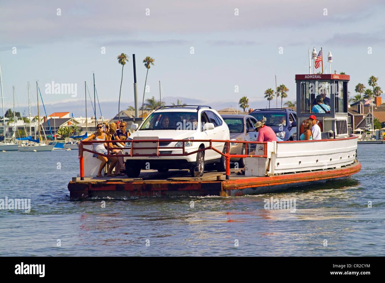 Historic Three Car Ferryboats Cross Newport Harbor Between The Fun