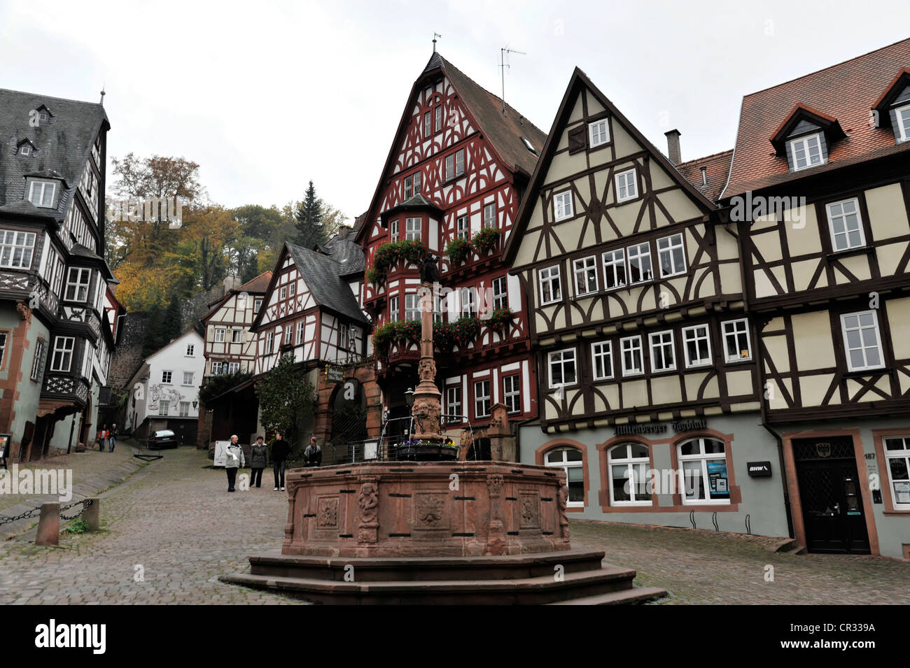Market square with fountain and wine tavern half timbered for Half timbered house plans
