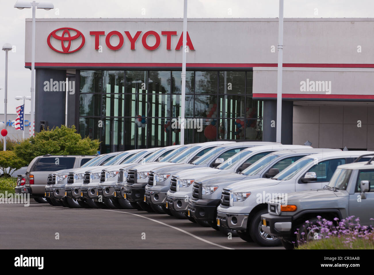 Stock photo toyota truck dealership sales lot california usa