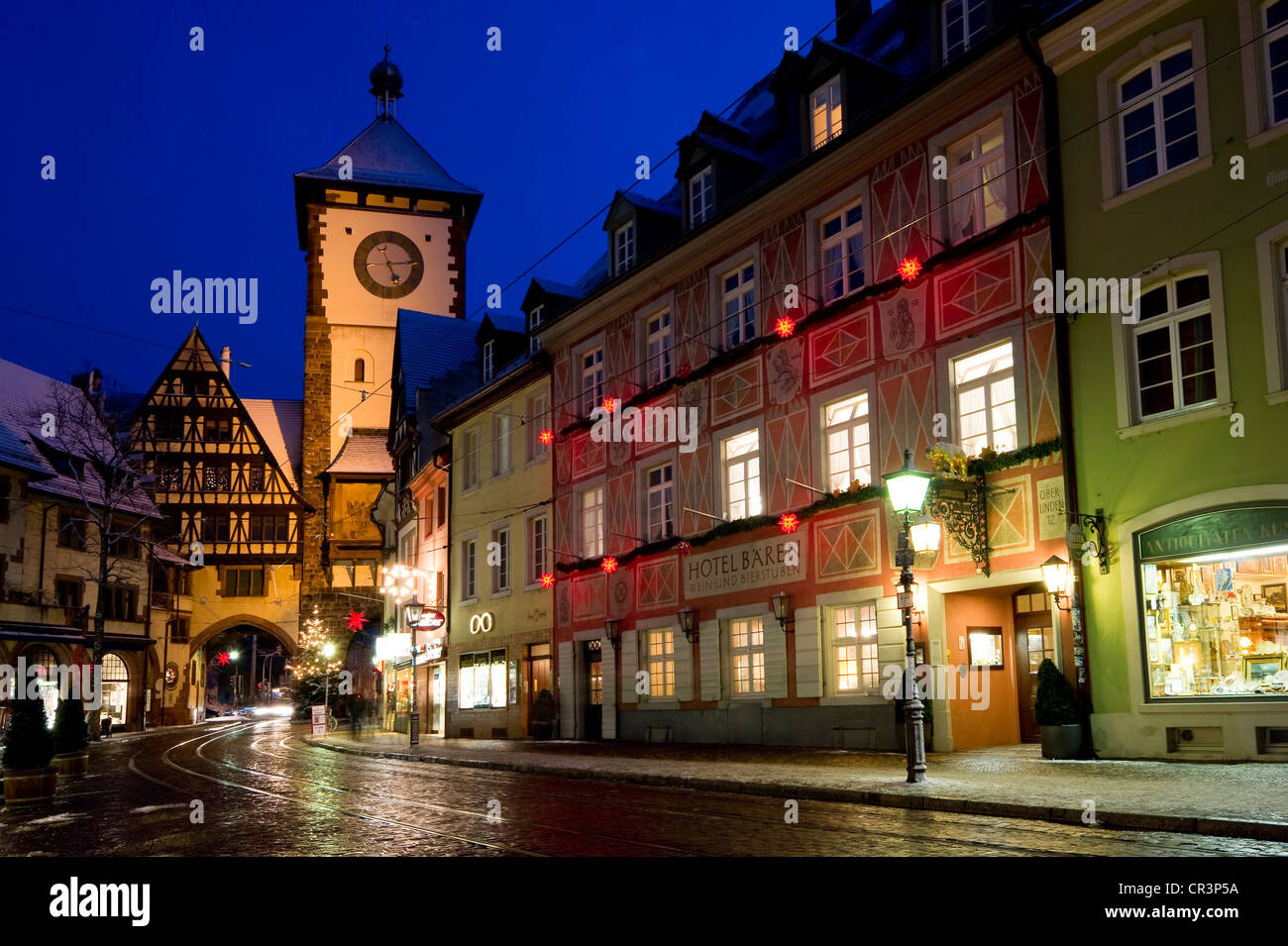 wintery old town with schwabentor city gate at christmas time stock photo royalty free image. Black Bedroom Furniture Sets. Home Design Ideas