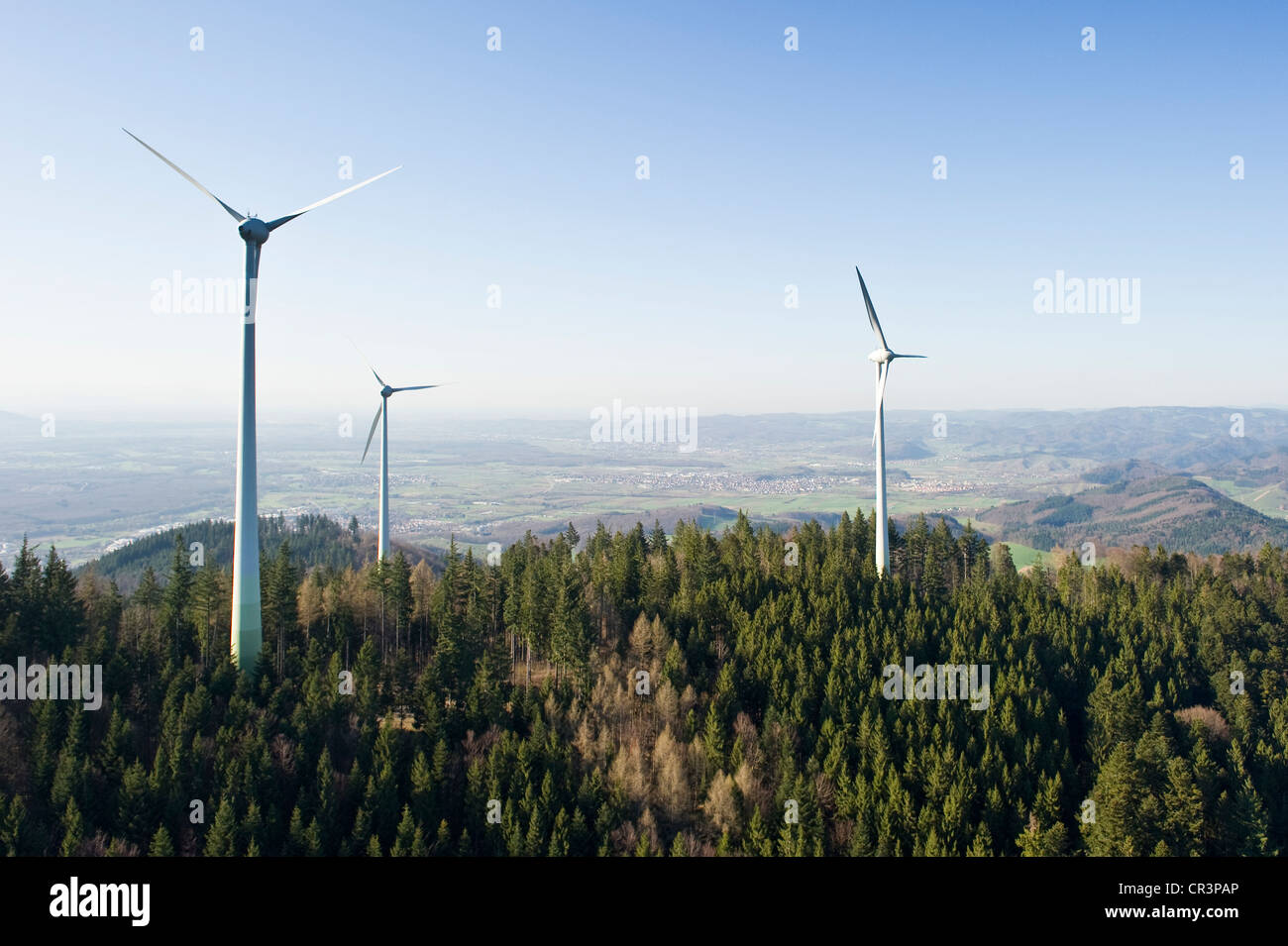 aerial view wind turbines on rosskopf mountain freiburg im stock photo royalty free image. Black Bedroom Furniture Sets. Home Design Ideas